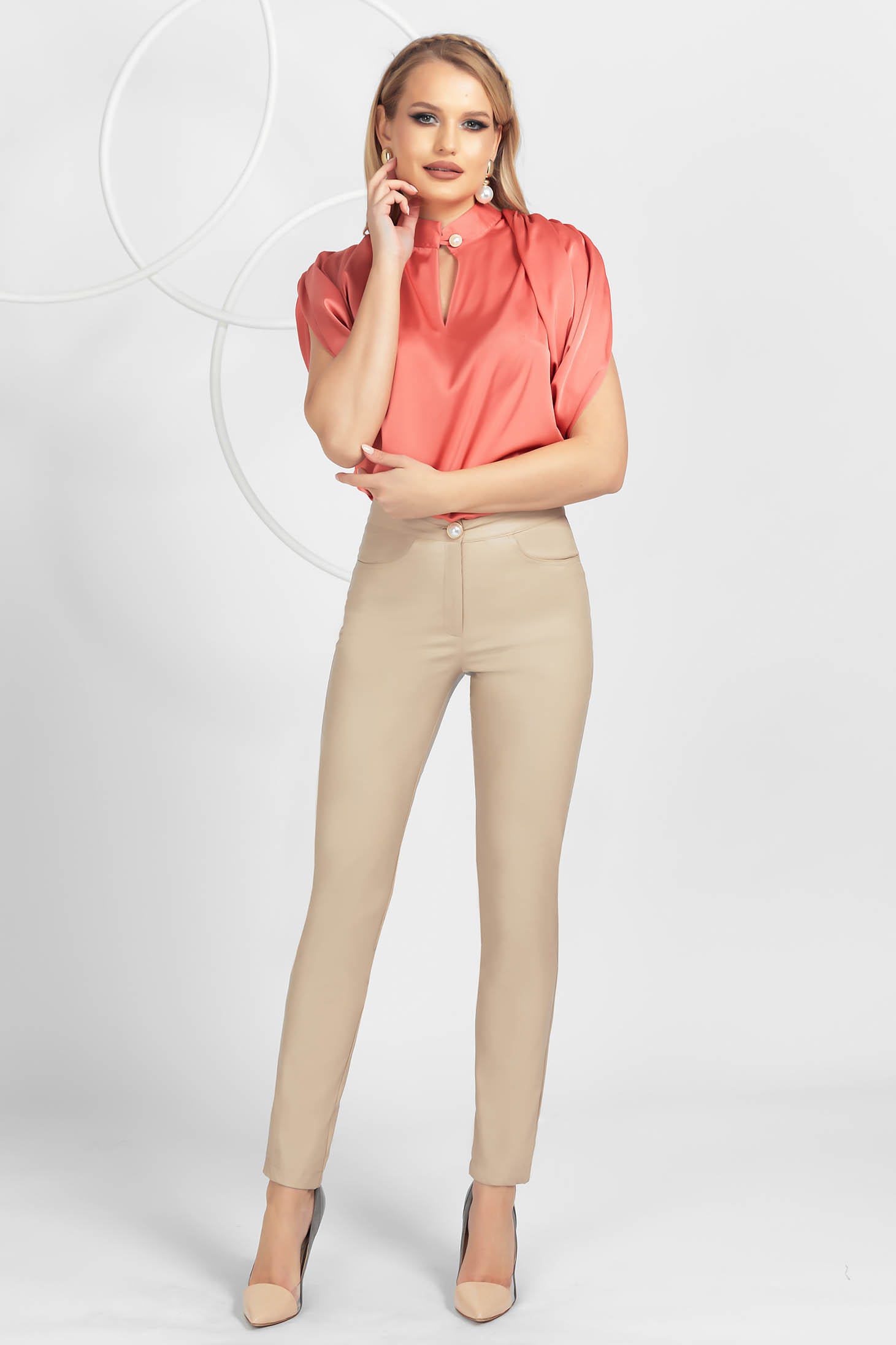 Cappuccino conical office trousers high waisted
