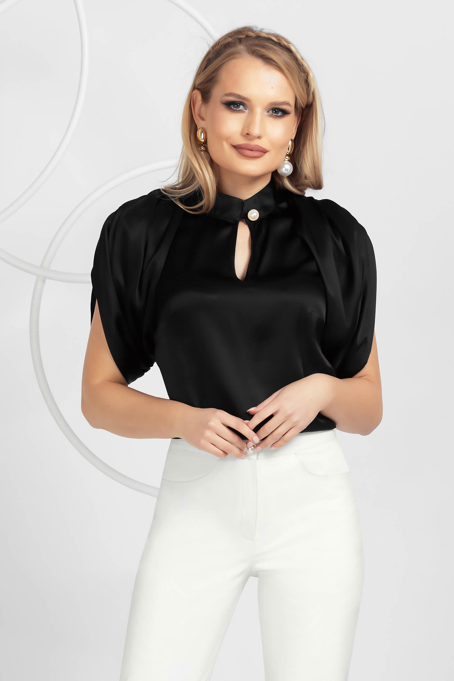 Bluza dama PrettyGirl neagra eleganta din satin subtire cu croi larg