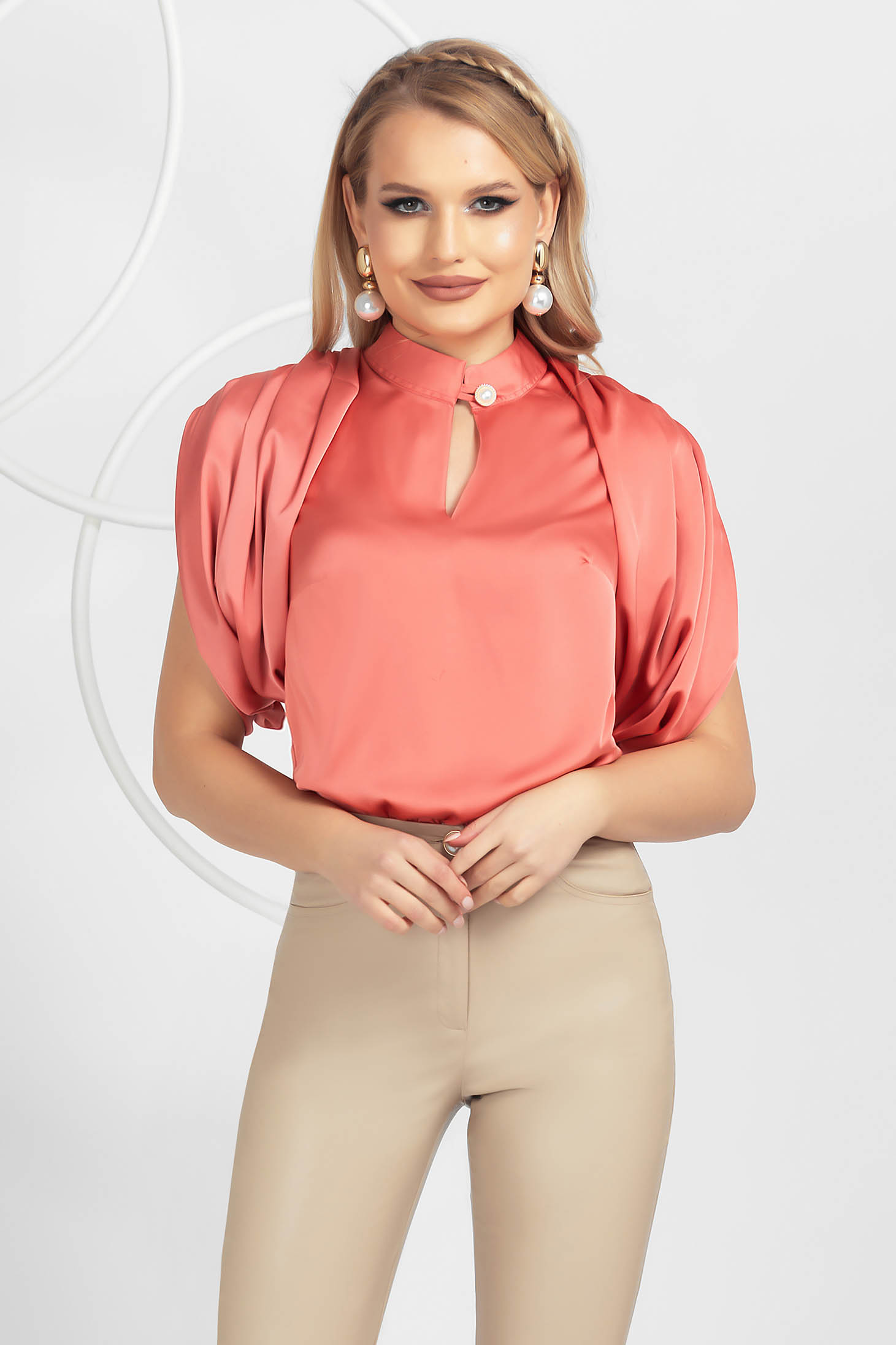 Coral women`s blouse slightly elastic fabric loose fit