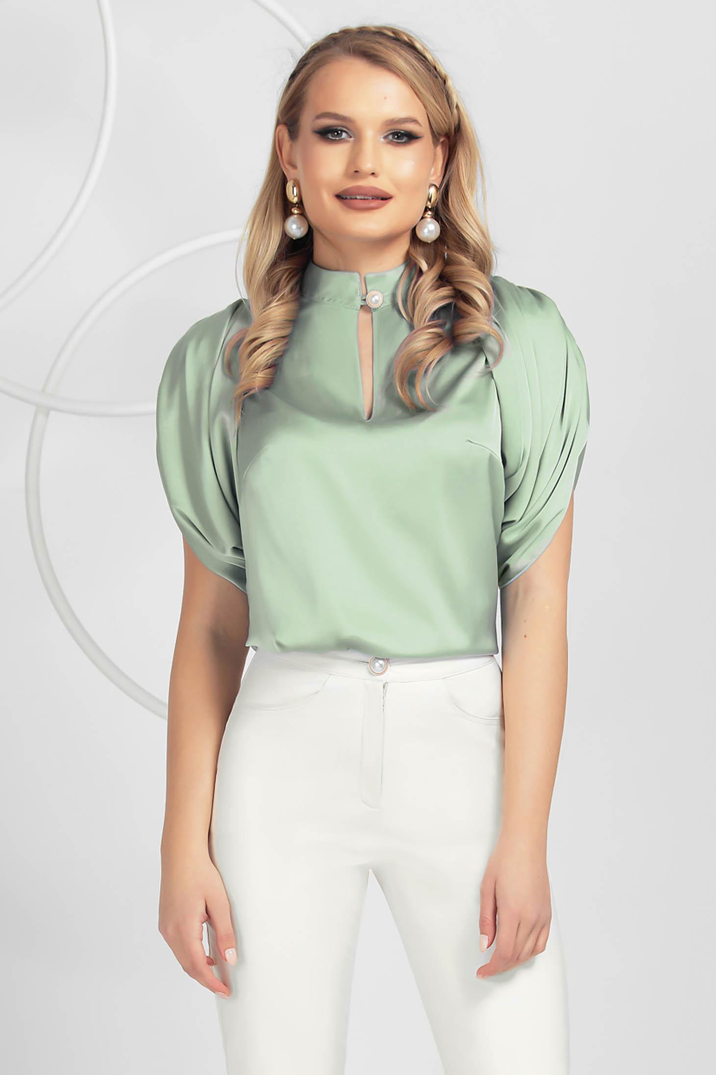 Bluza dama PrettyGirl verde-deschis eleganta din satin subtire cu croi larg