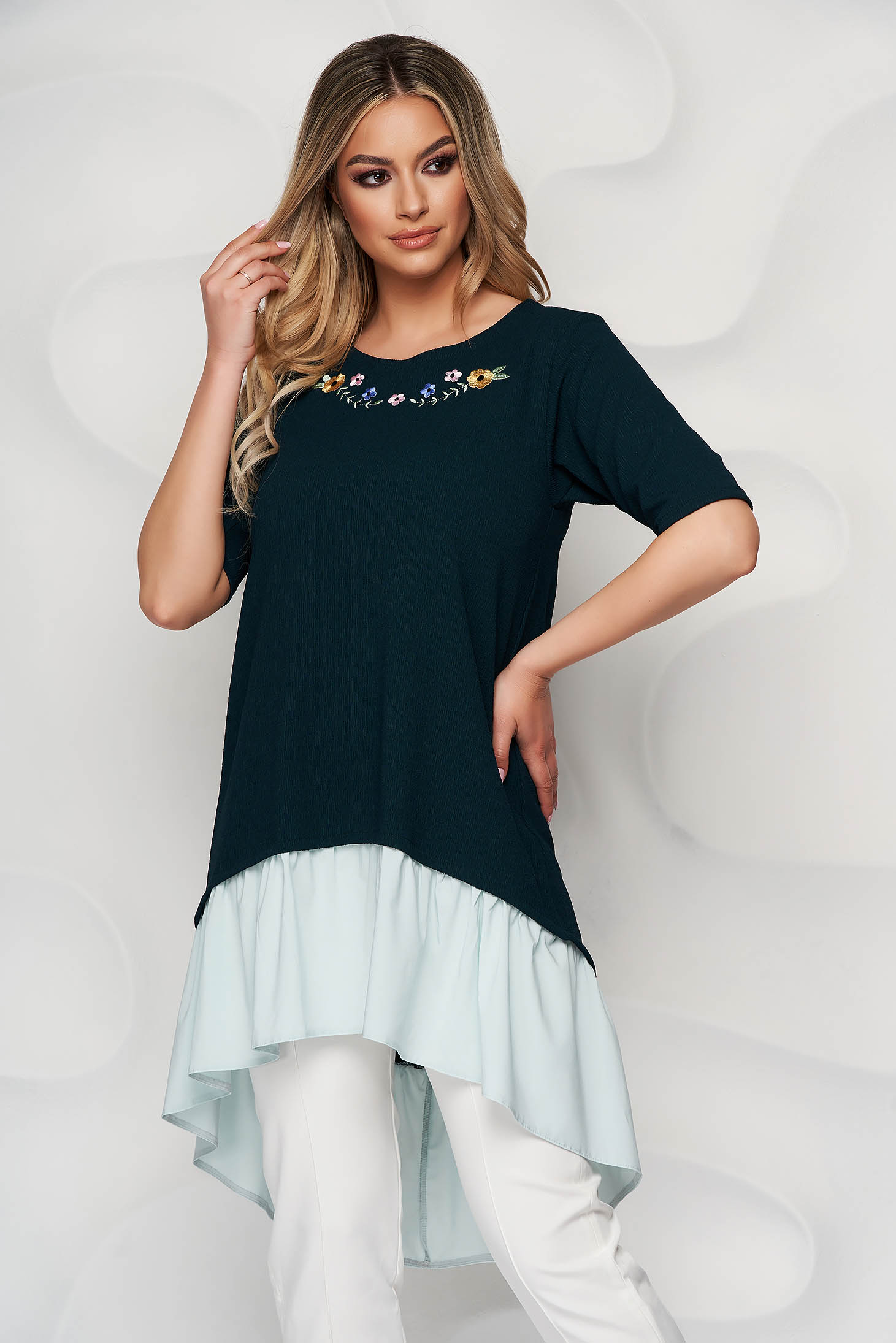 StarShinerS dirty green women`s blouse embroidered asymmetrical loose fit