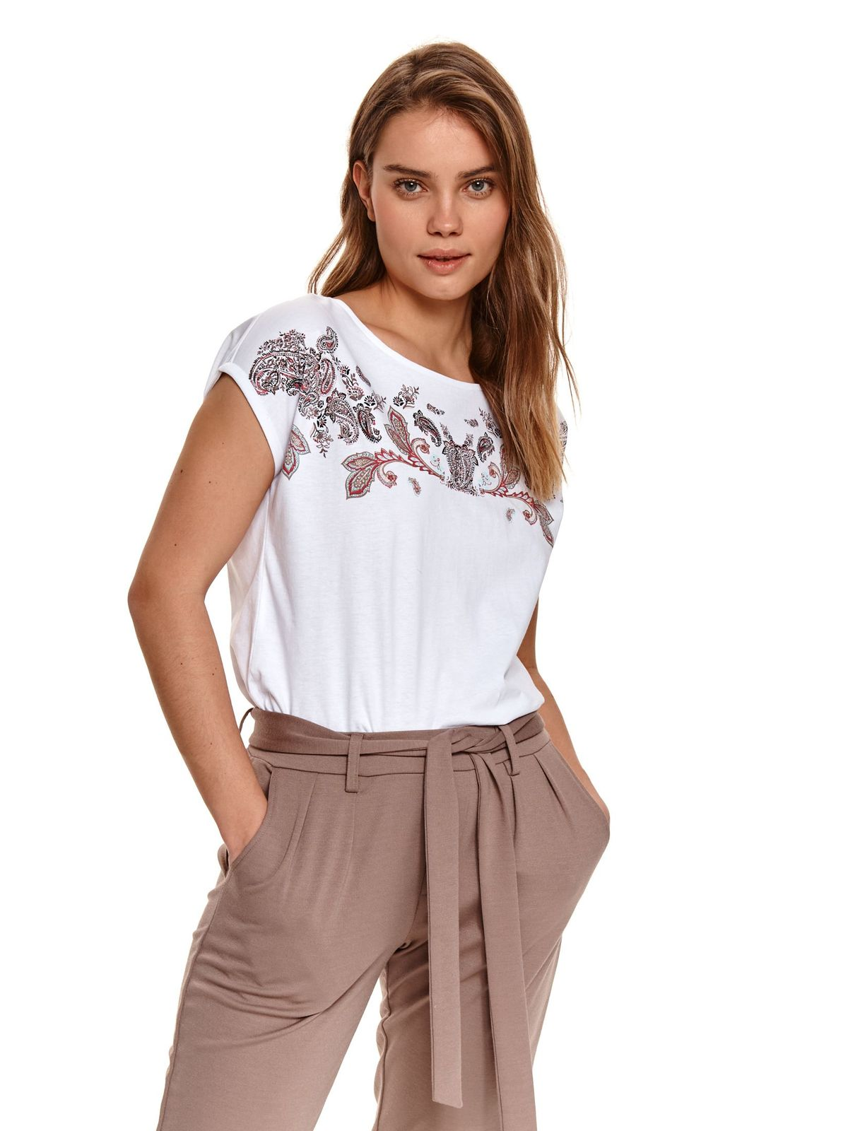 White women`s blouse casual with floral print thin fabric with rounded cleavage
