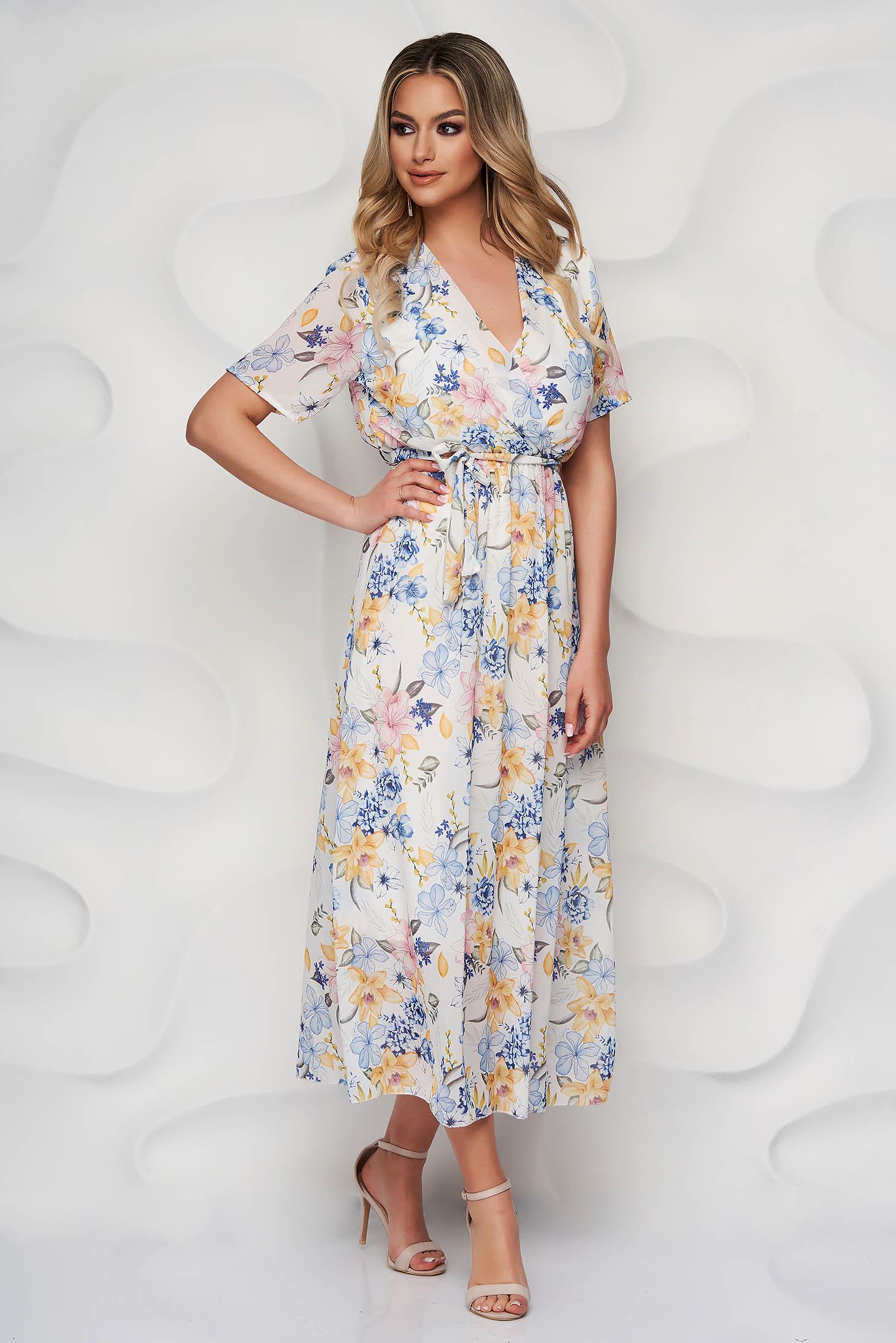 Rochie SunShine alba cu imprimeu floral in clos din material vaporos cu cordon detasabil si decolteu petrecut
