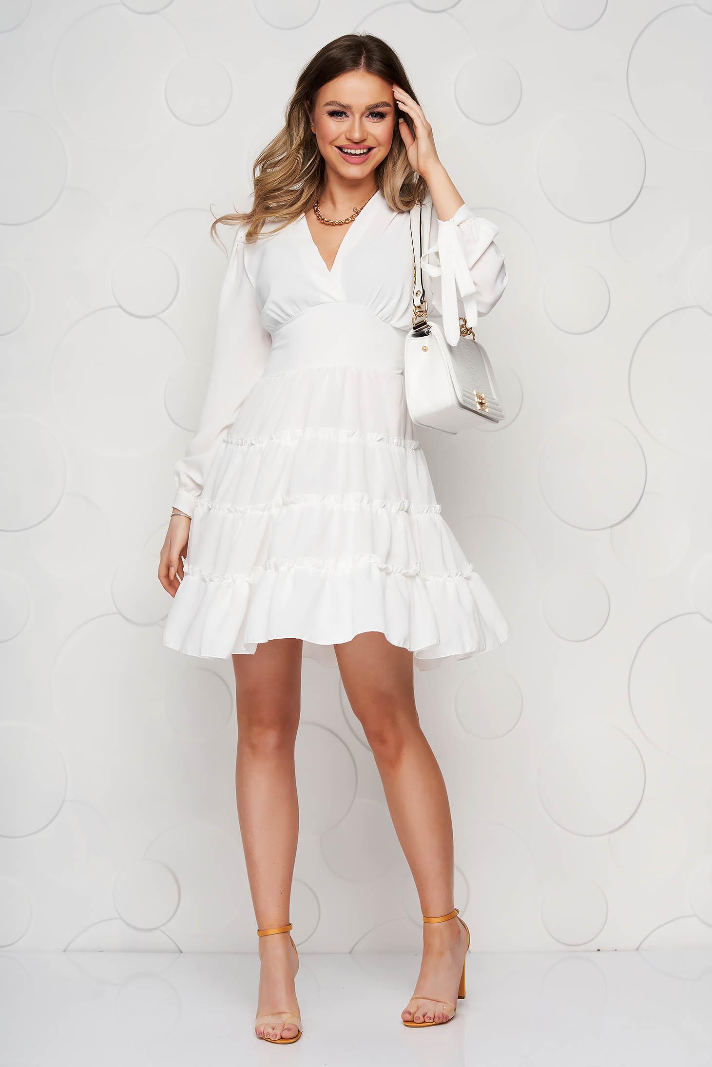 Fehér SunShine fodros harang tipusú ruha