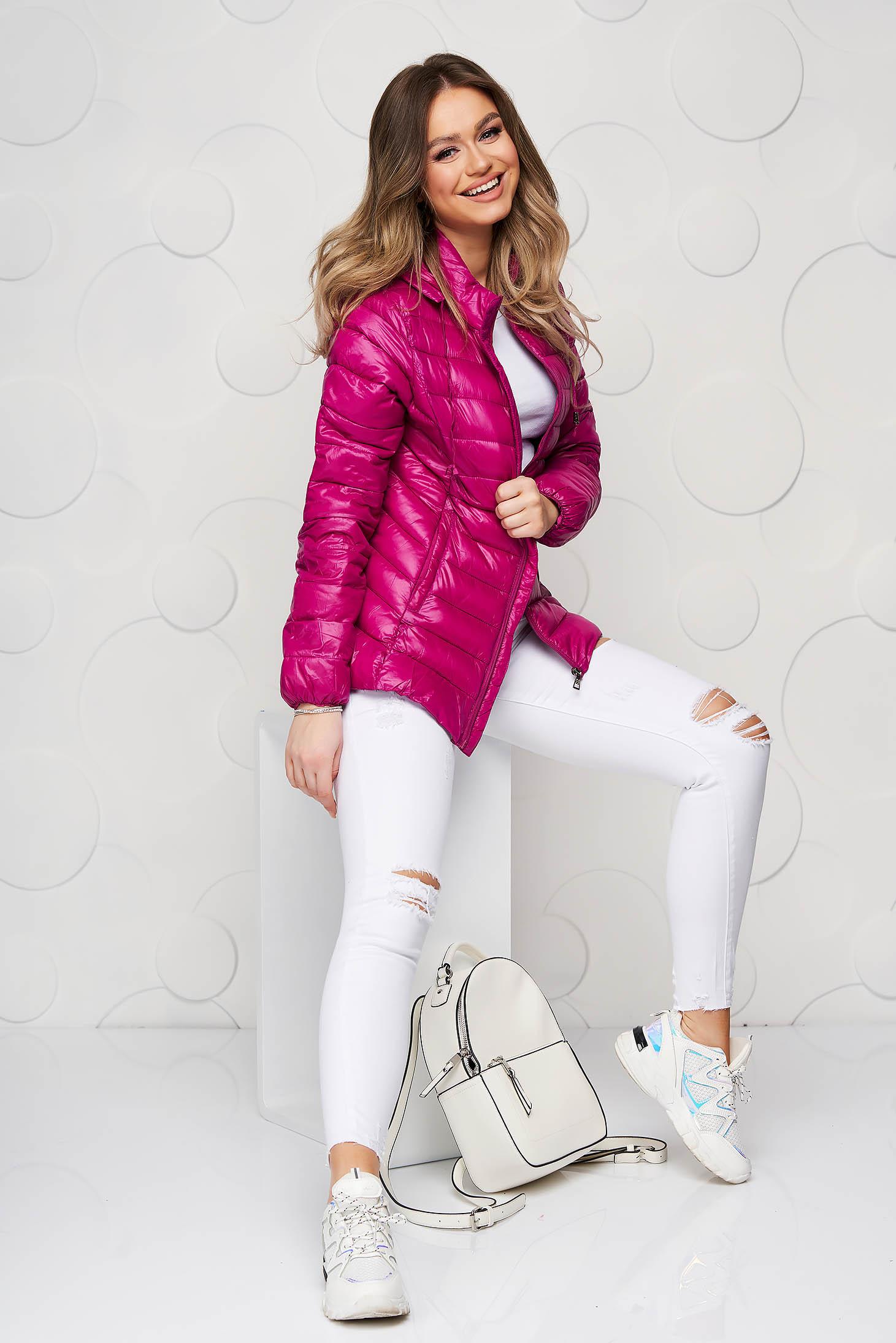 Fuchsia jacket from slicker thin fabric