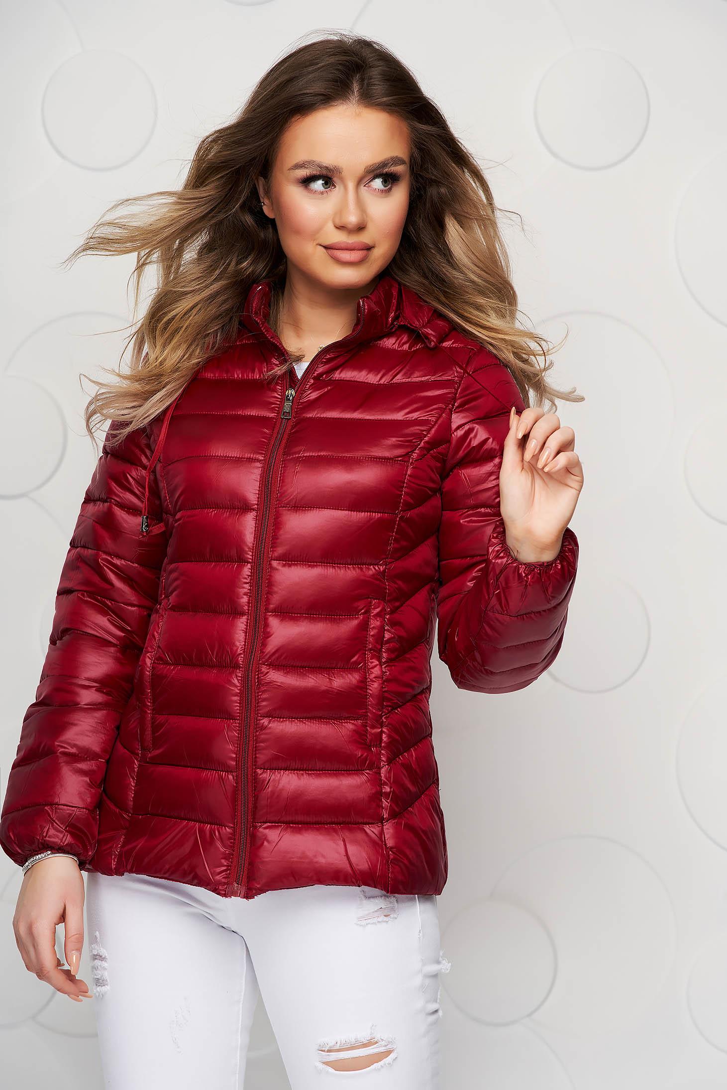 Burgundy jacket from slicker thin fabric