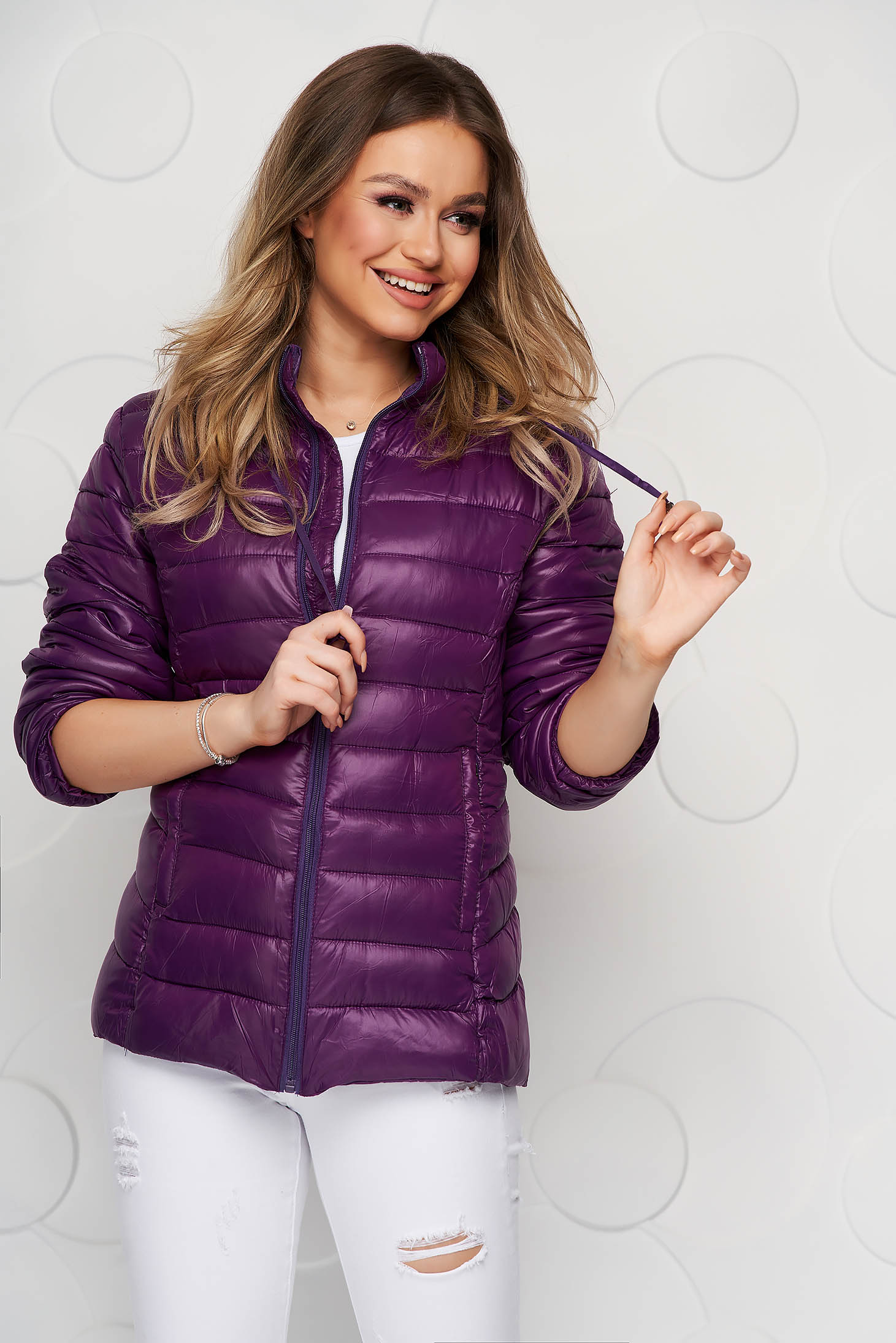 Purple jacket from slicker thin fabric