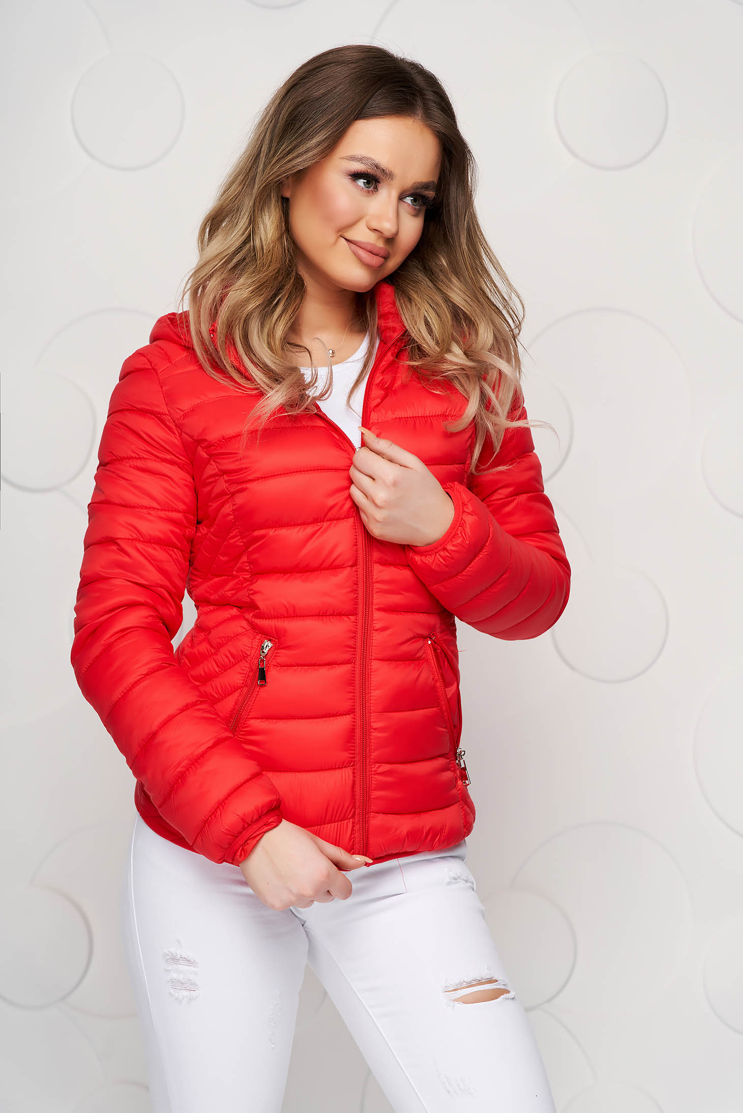 Red jacket slicker fabric casual with front pockets