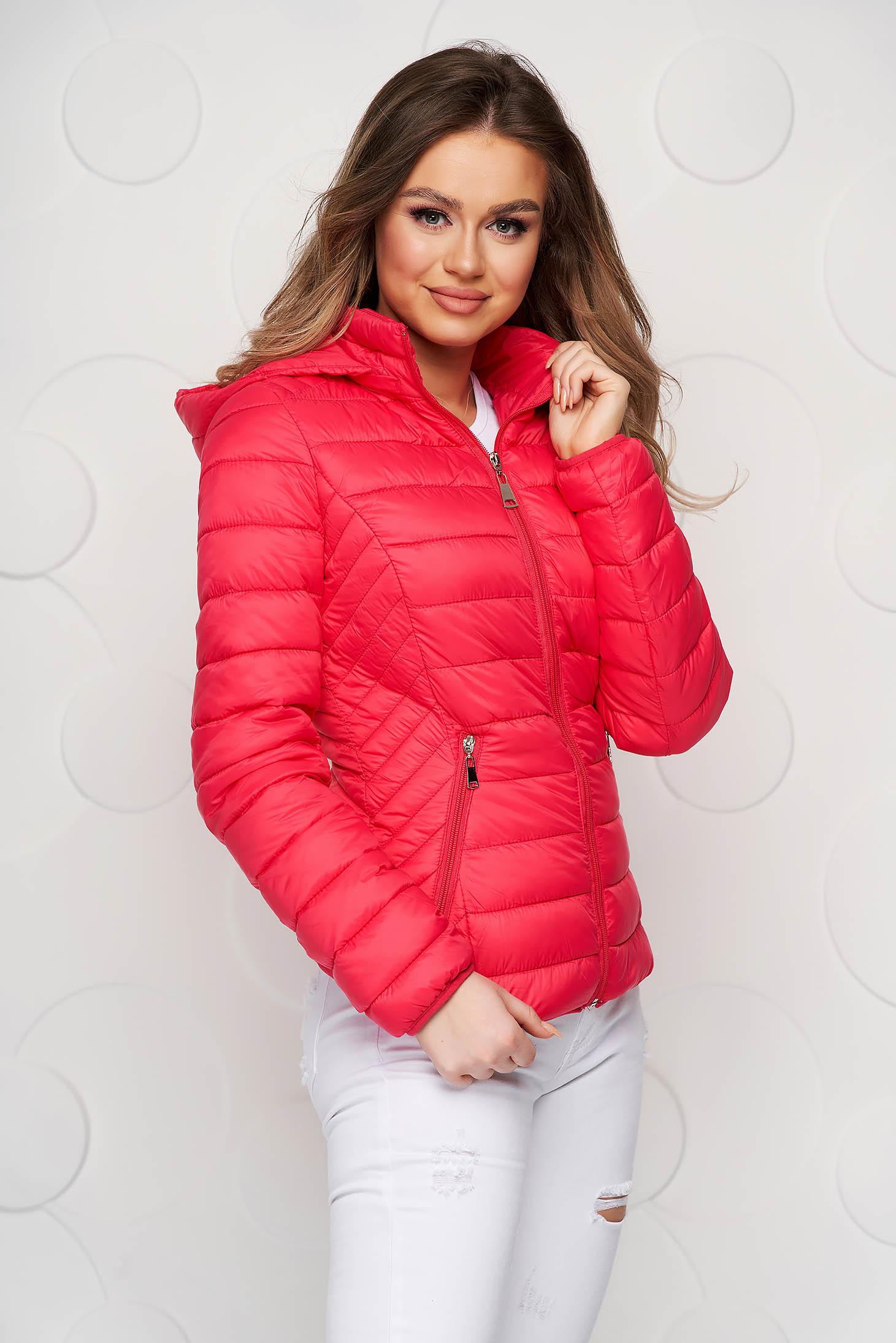 Fuchsia jacket sporty short cut thin fabric