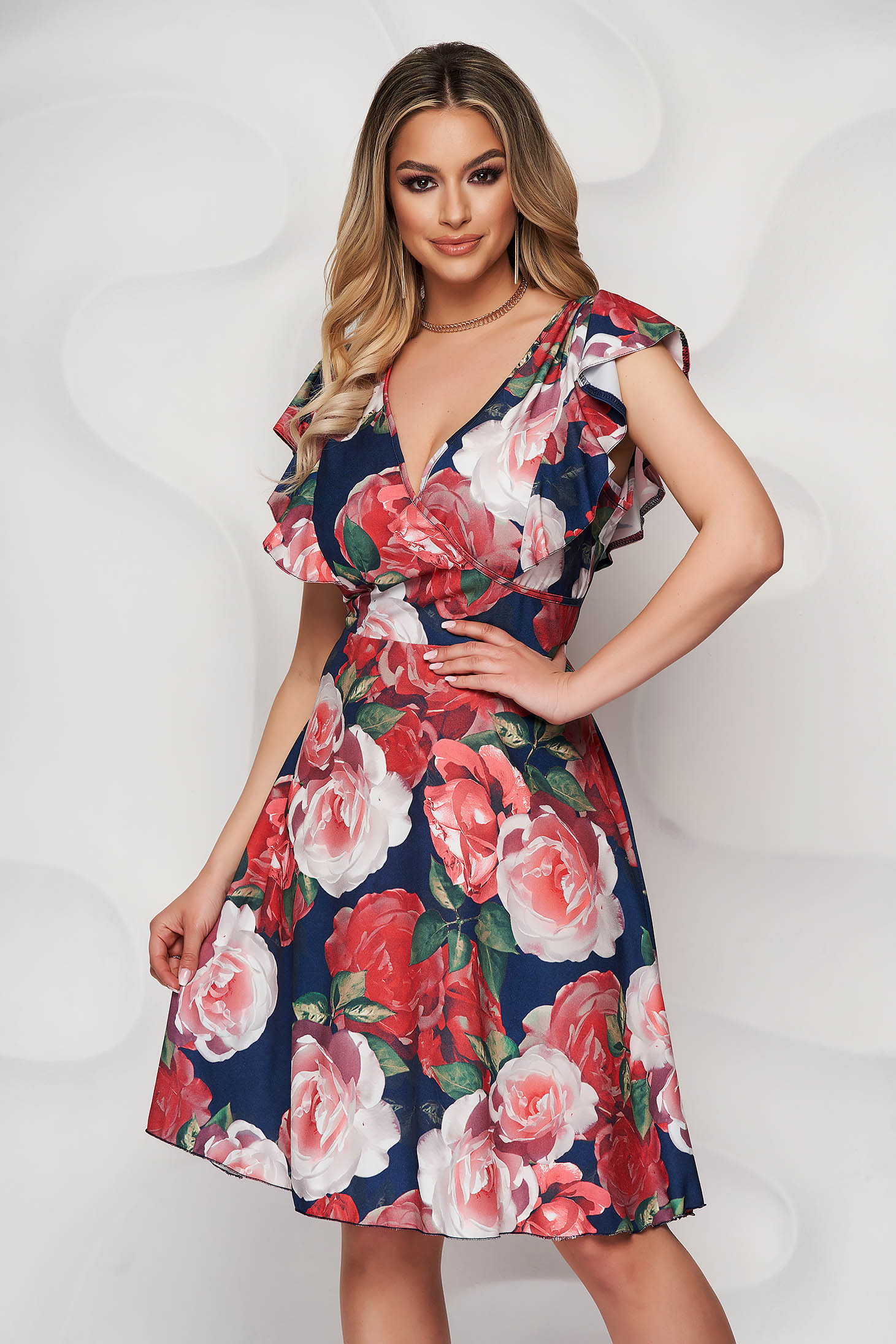 Darkblue dress with floral print cloche wrap over front with ruffle details