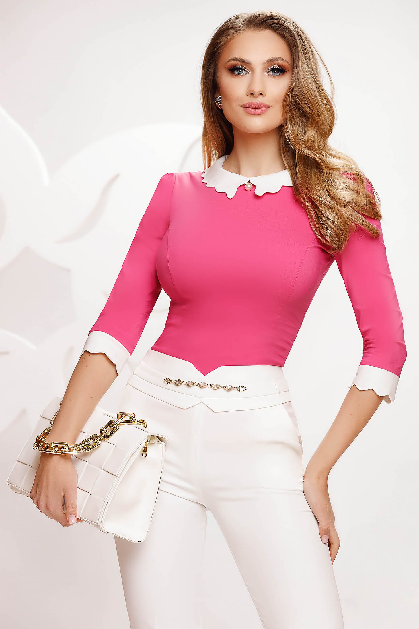Cotton elegant tented accessorized with breastpin pink women`s shirt