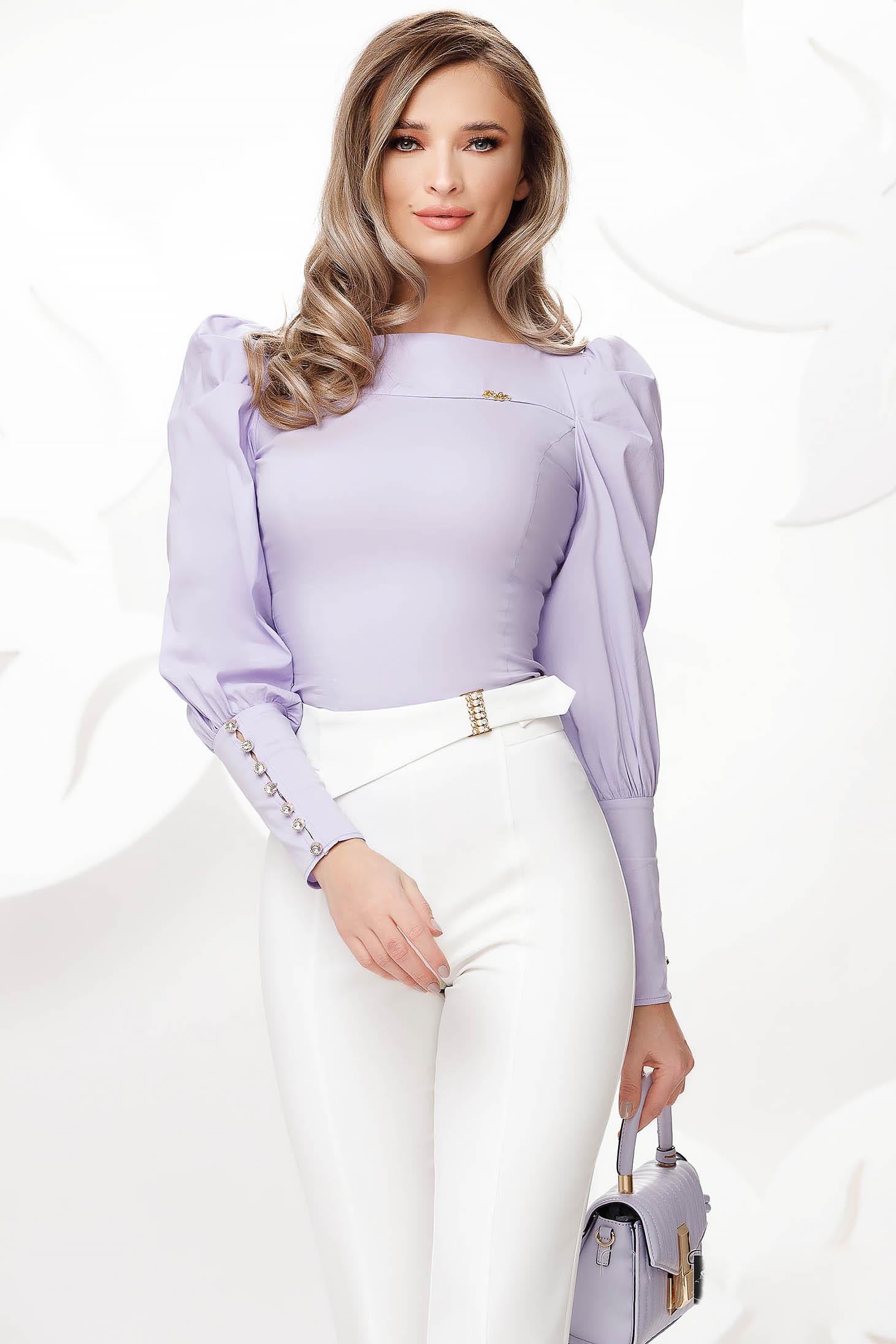 Lila pamutból készült szűk szabású irodai rövid női ing
