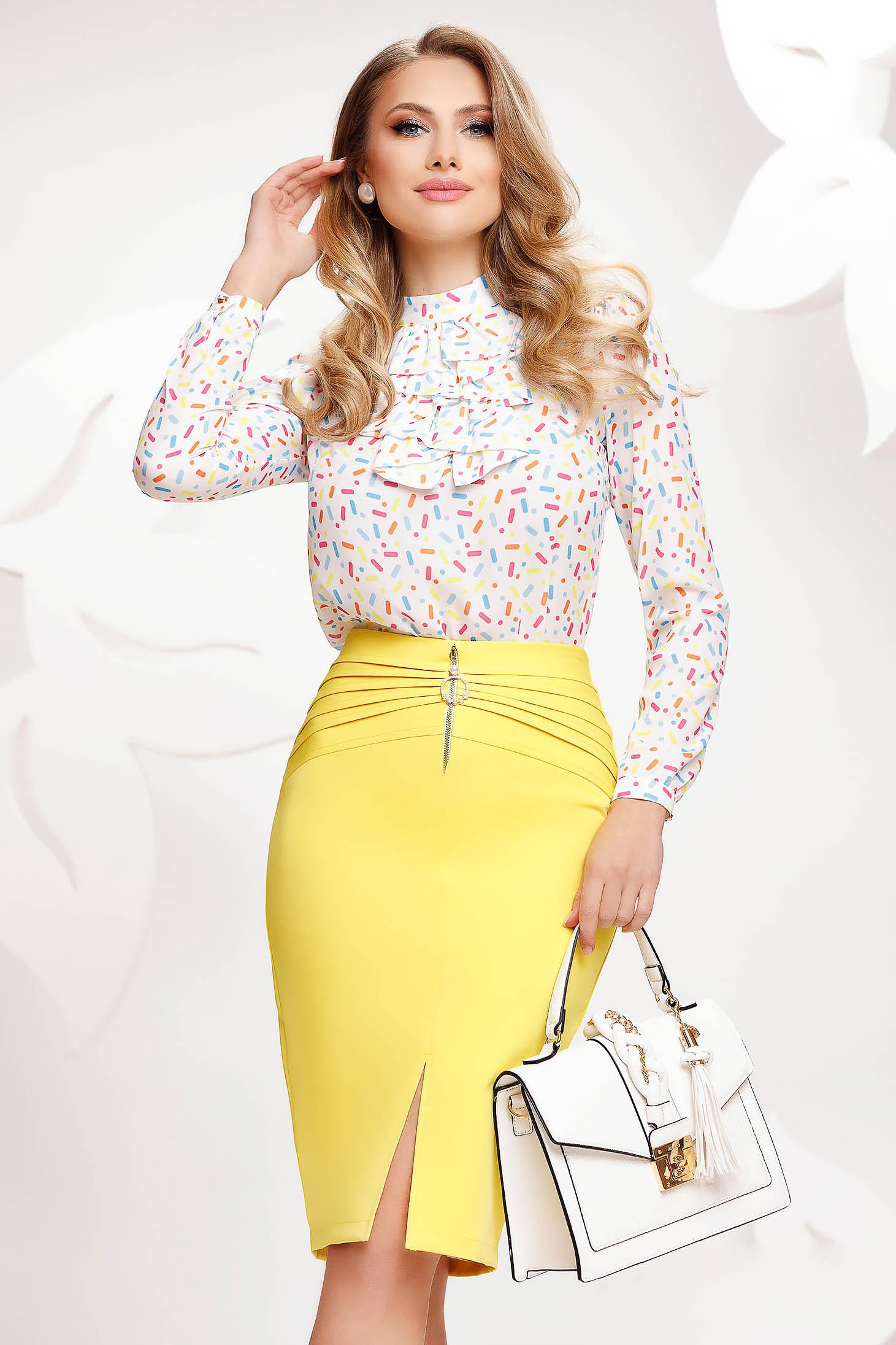 Yellow skirt pencil midi
