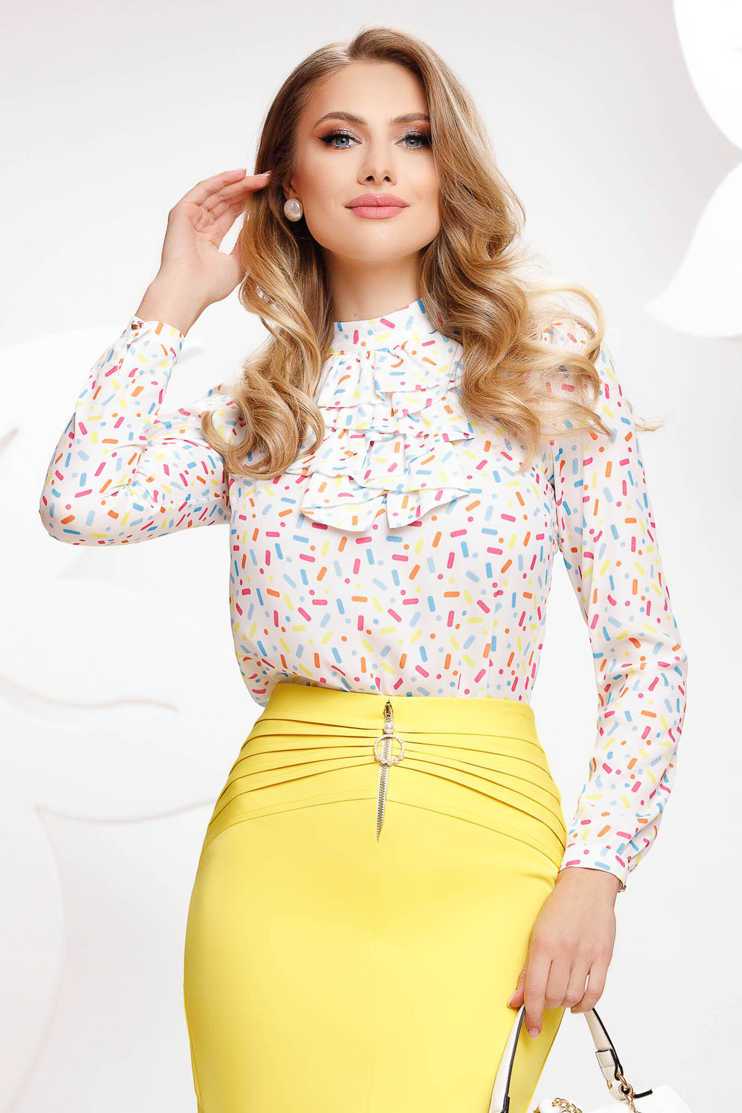 White women`s blouse with graphic details from veil fabric