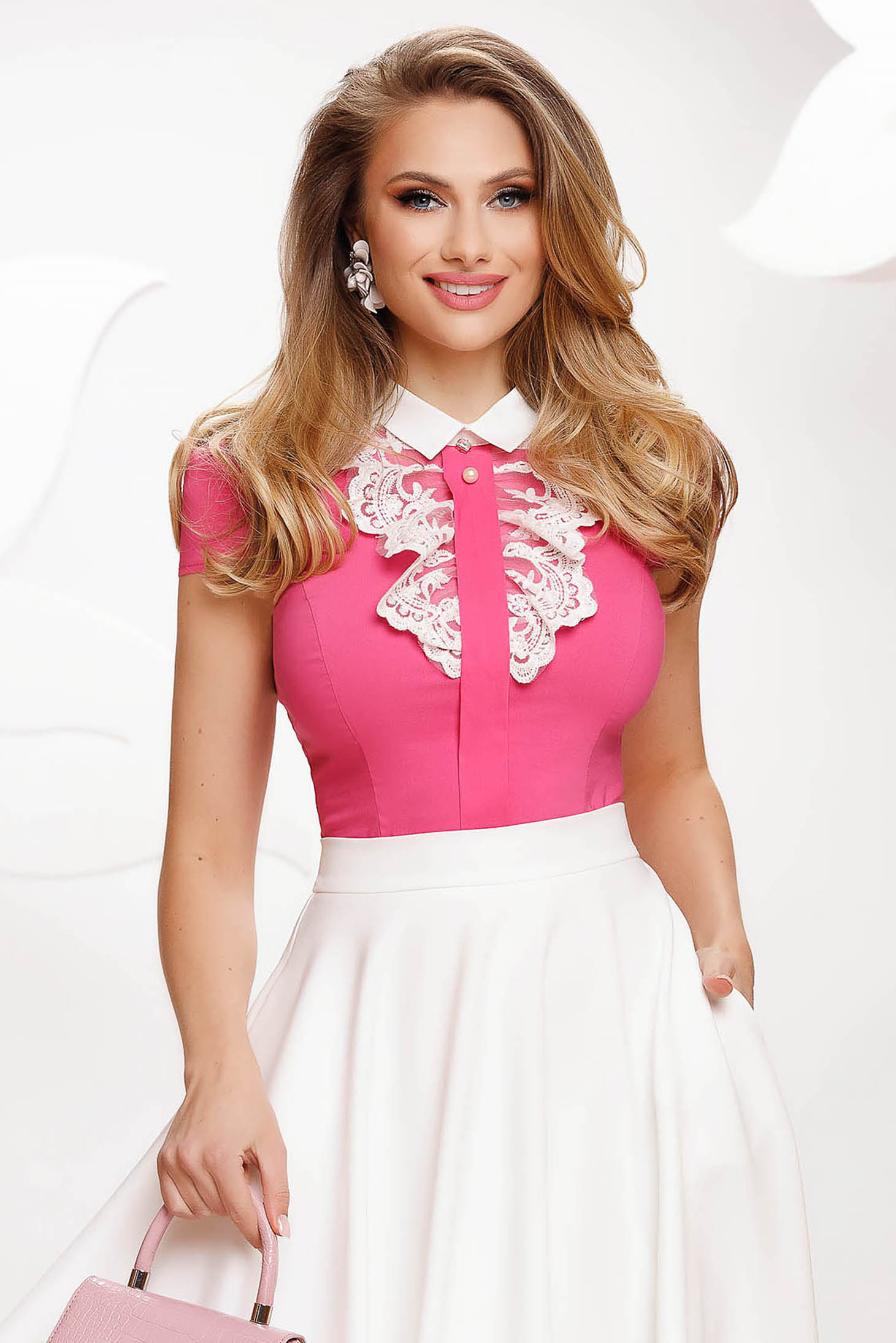Pink women`s shirt cotton tented with lace details elegant