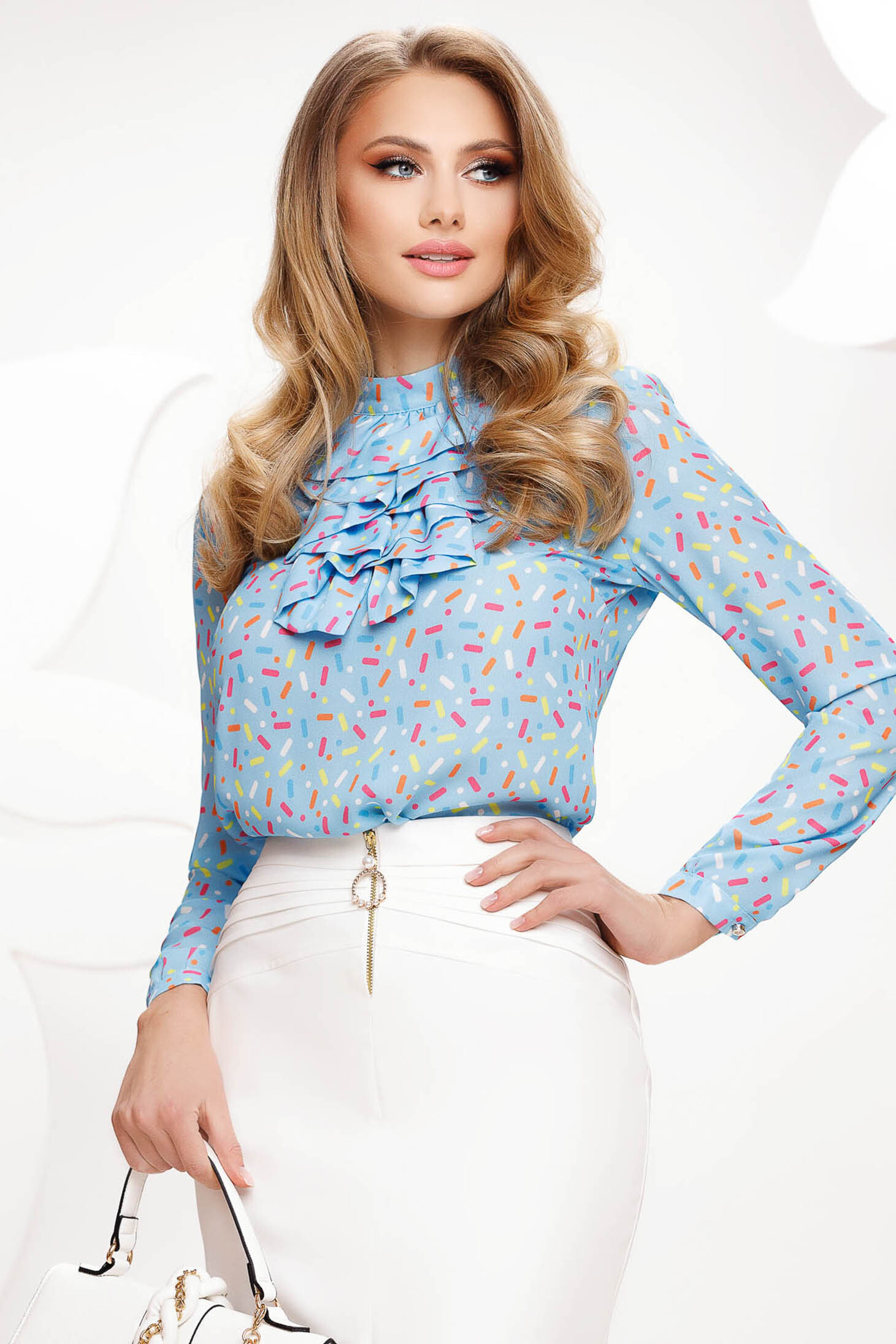 Blue women`s blouse with graphic details from veil fabric