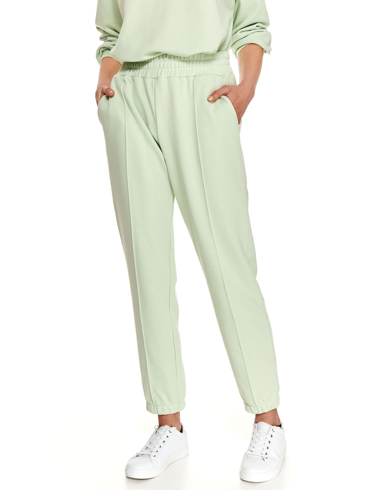 Green trousers casual loose fit with elastic waist