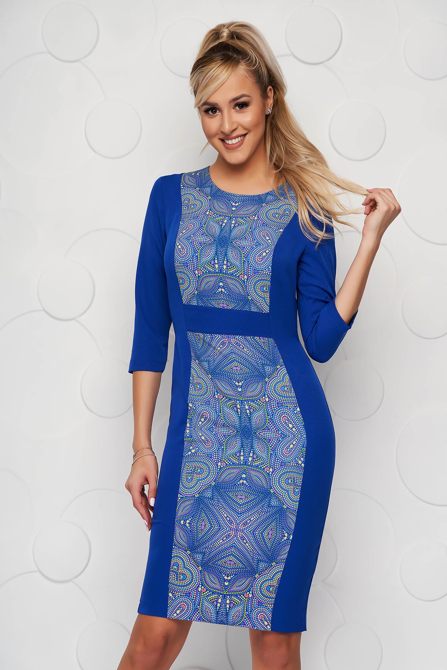 StarShinerS blue dress midi pencil back slit cloth