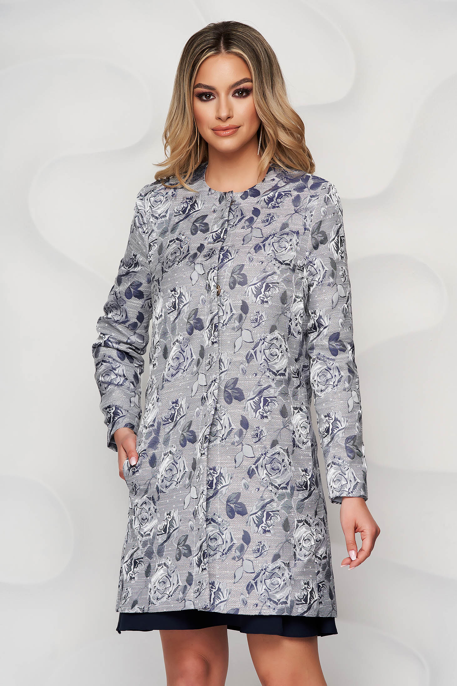 StarShinerS lightblue overcoat with floral print with pockets