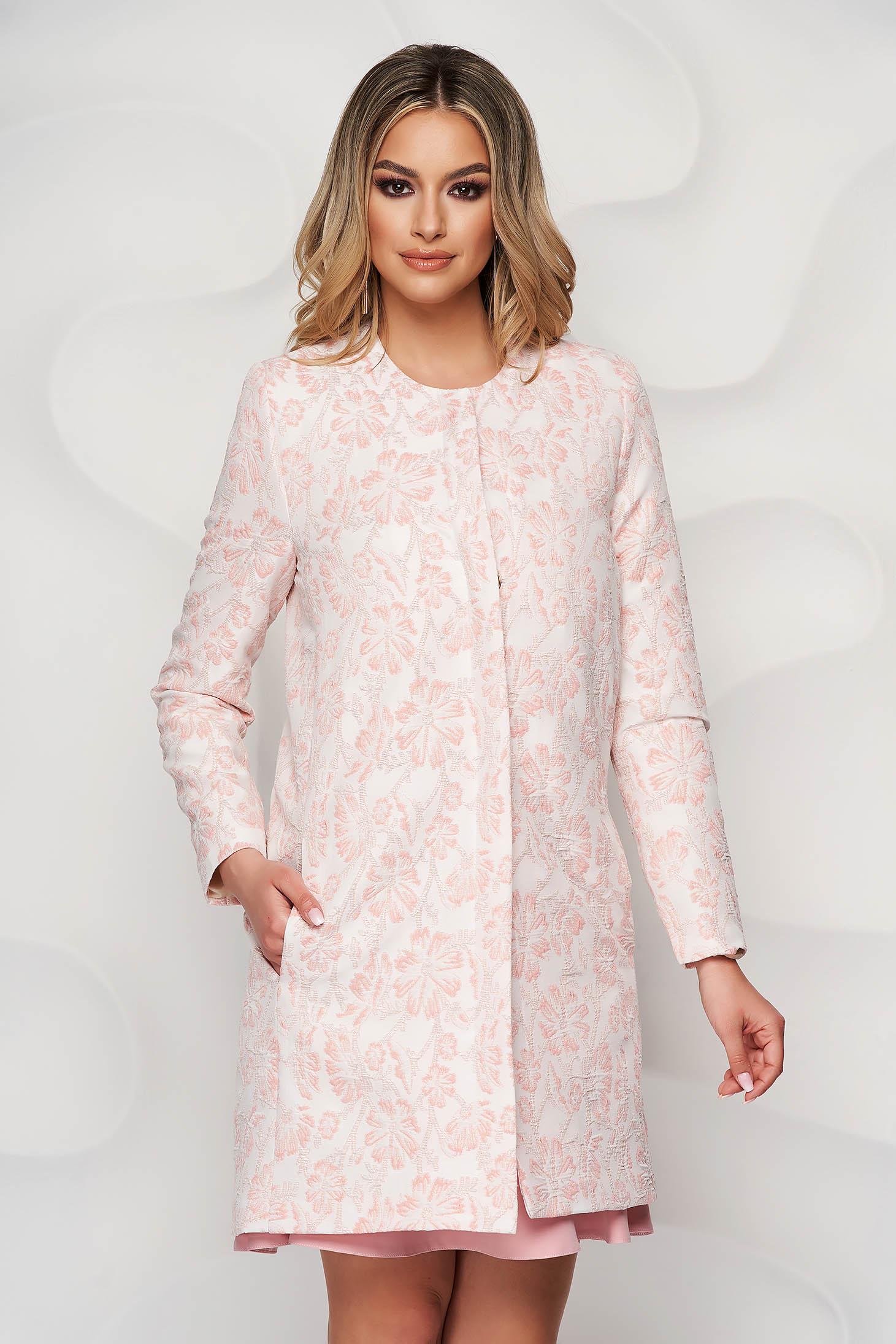 Pardesiu StarShinerS roz prafuit din jaquard subtire cu imprimeu floral si buzunare