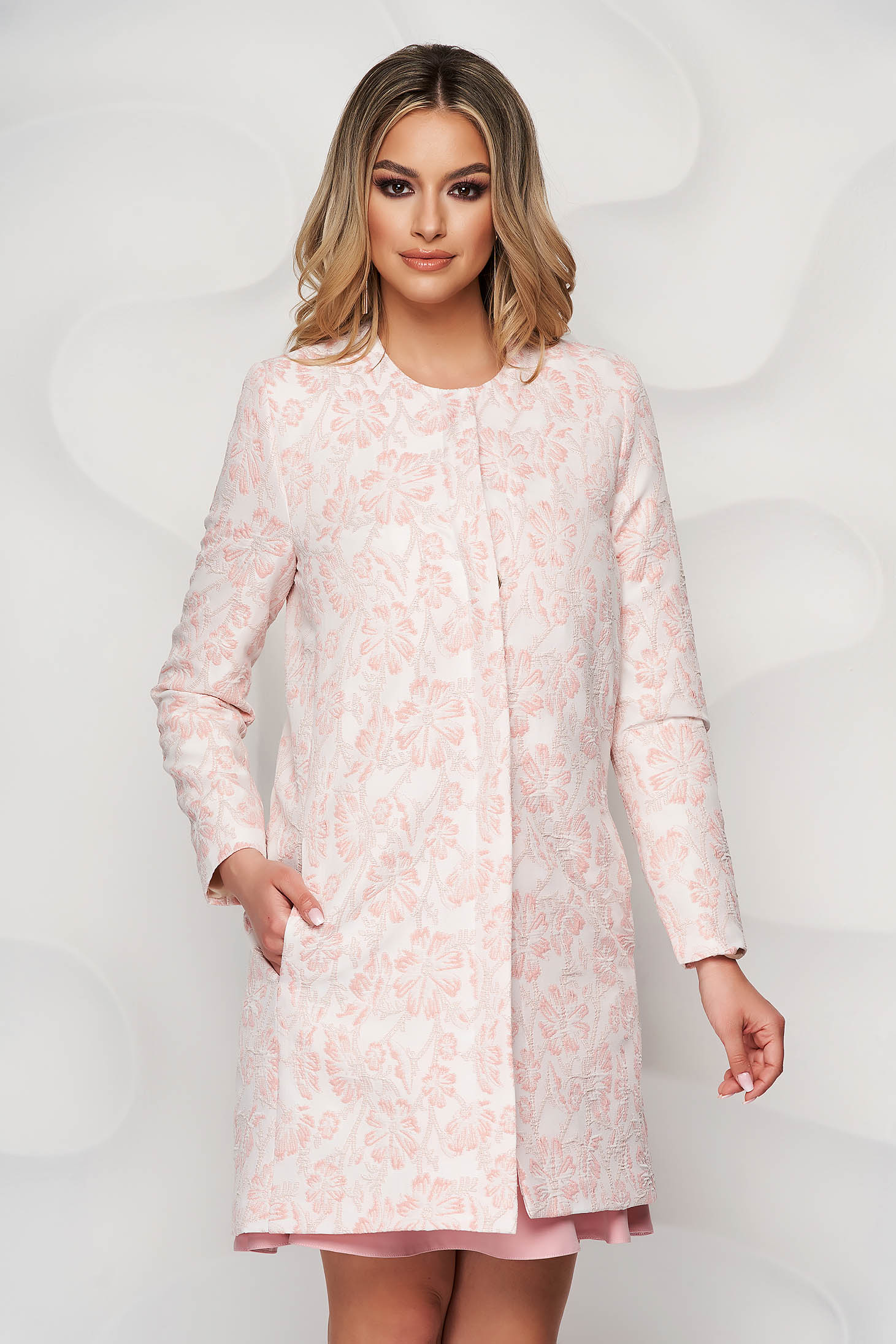 StarShinerS lightpink overcoat with floral print with pockets