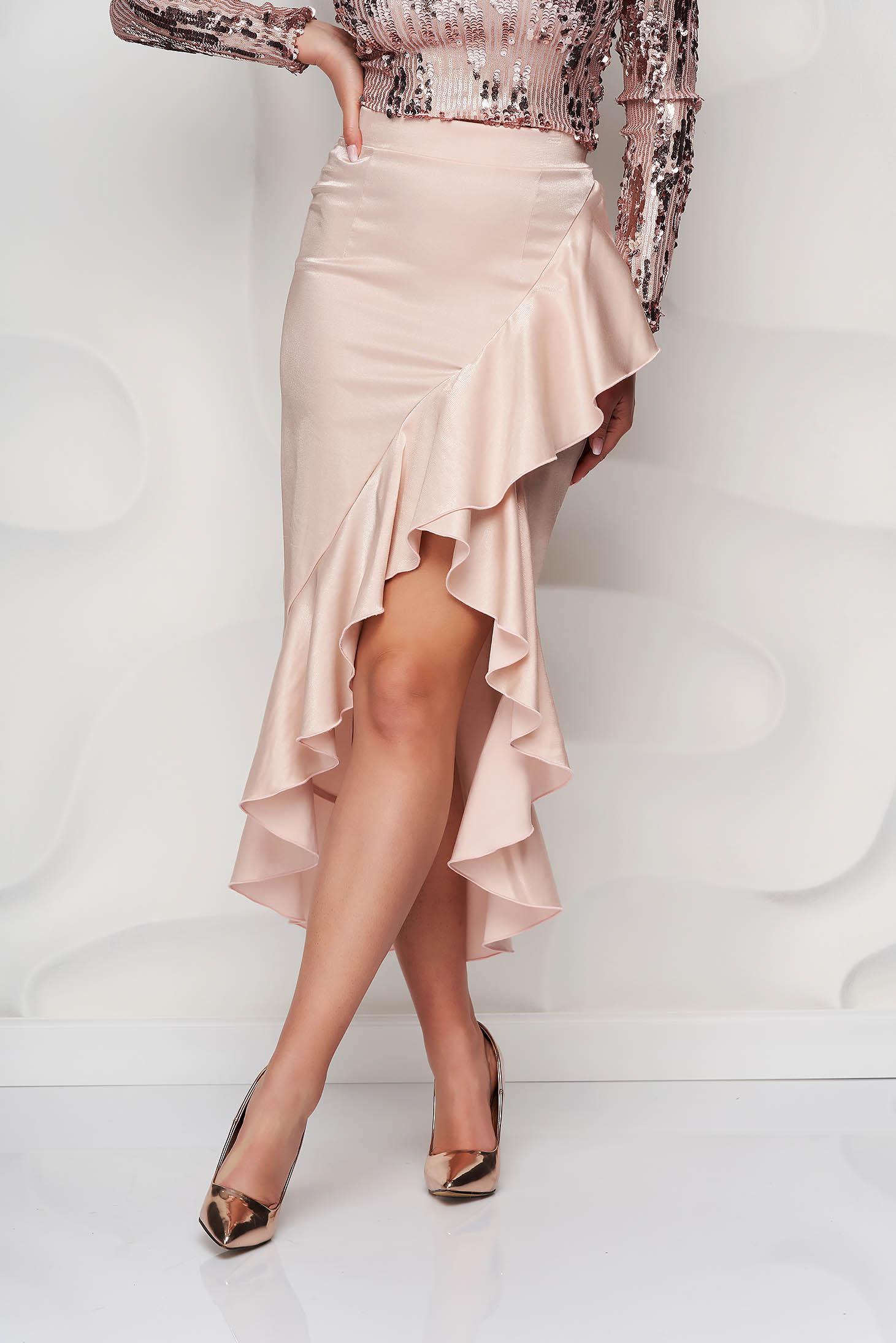 StarShinerS lightpink skirt from satin fabric texture elegant asymmetrical