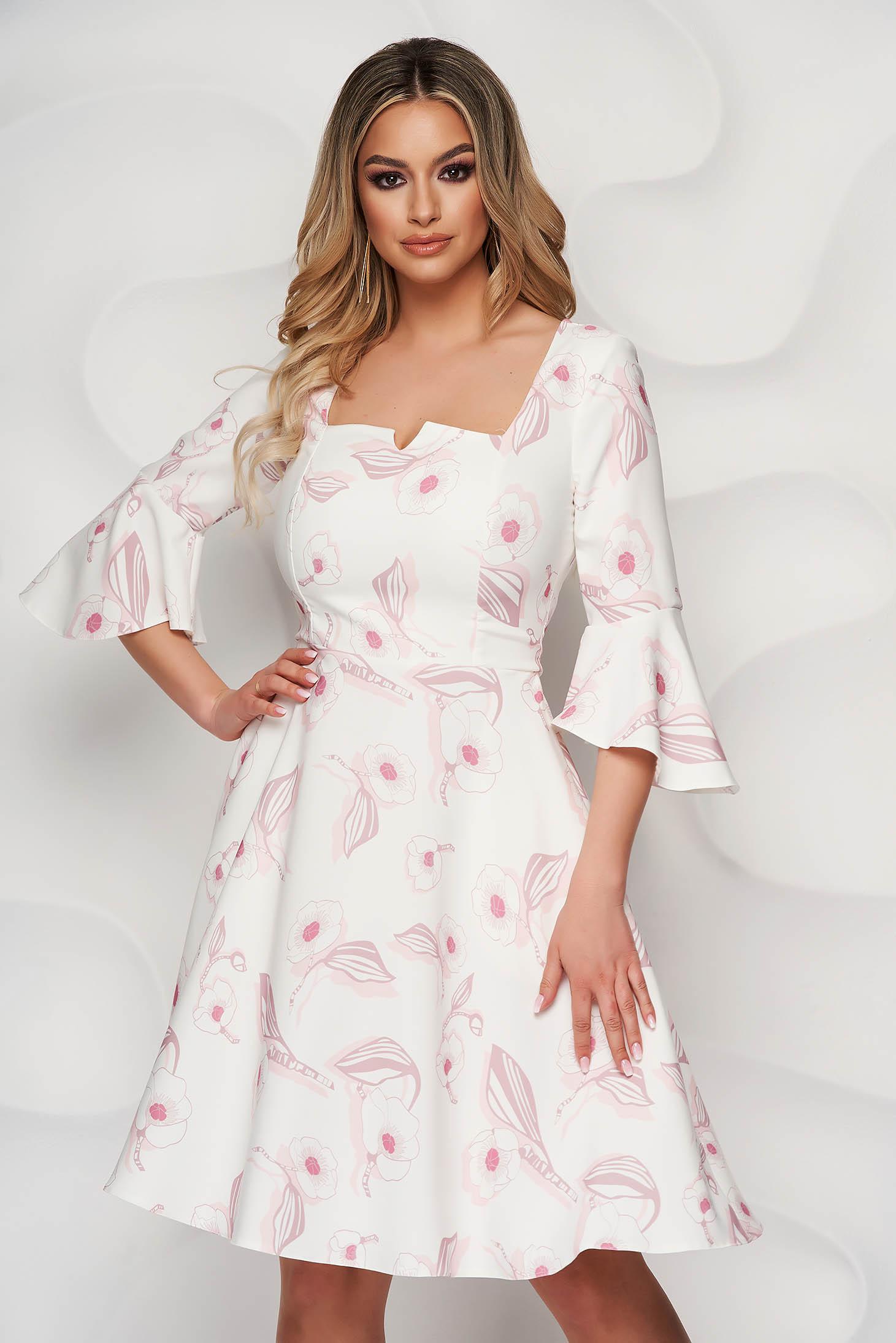 Rochie StarShinerS eleganta in clos cu maneci clopot si imprimeu floral