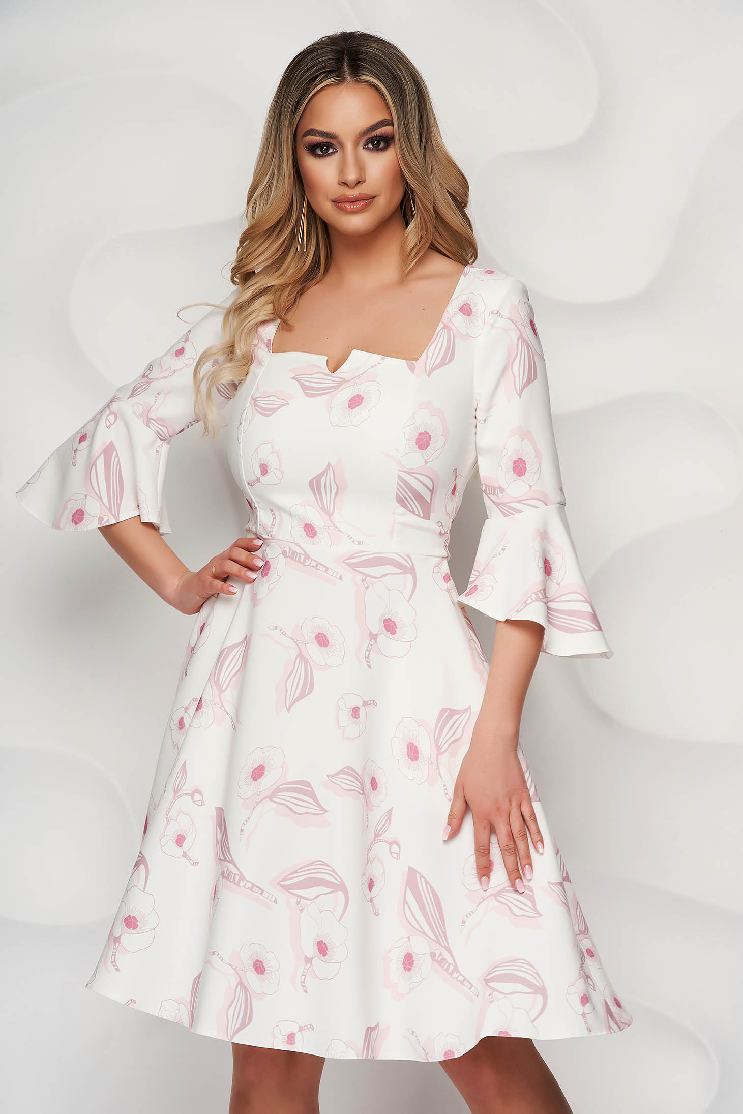 StarShinerS dress elegant with floral print cloche with bell sleeve