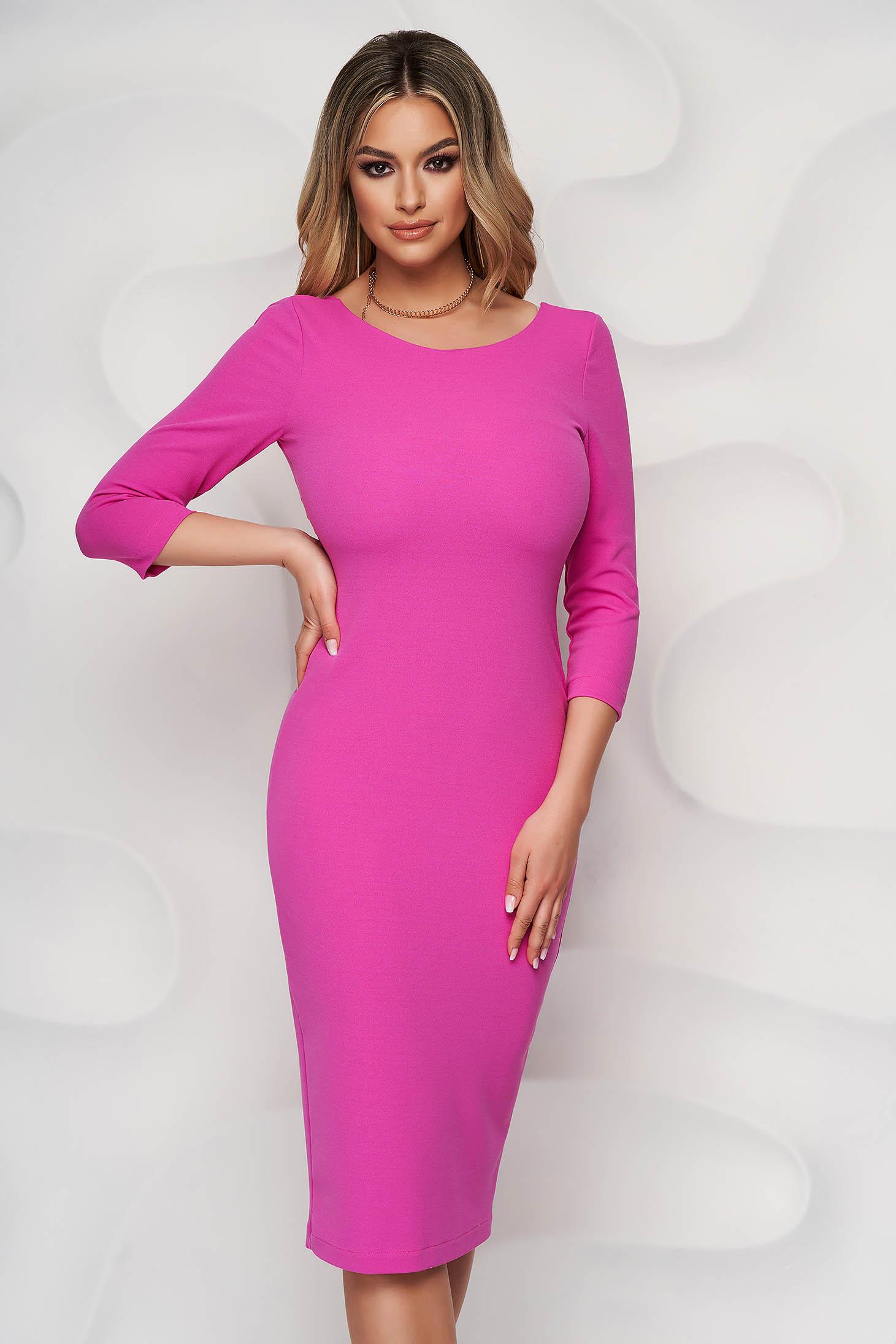 Dress elegant midi StarShinerS pink pencil bare back