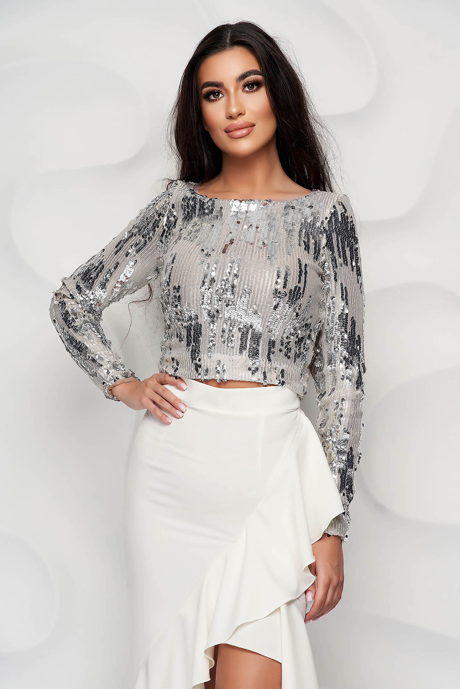StarShinerS ivory top shirt elegant with sequin embellished details tented occasional