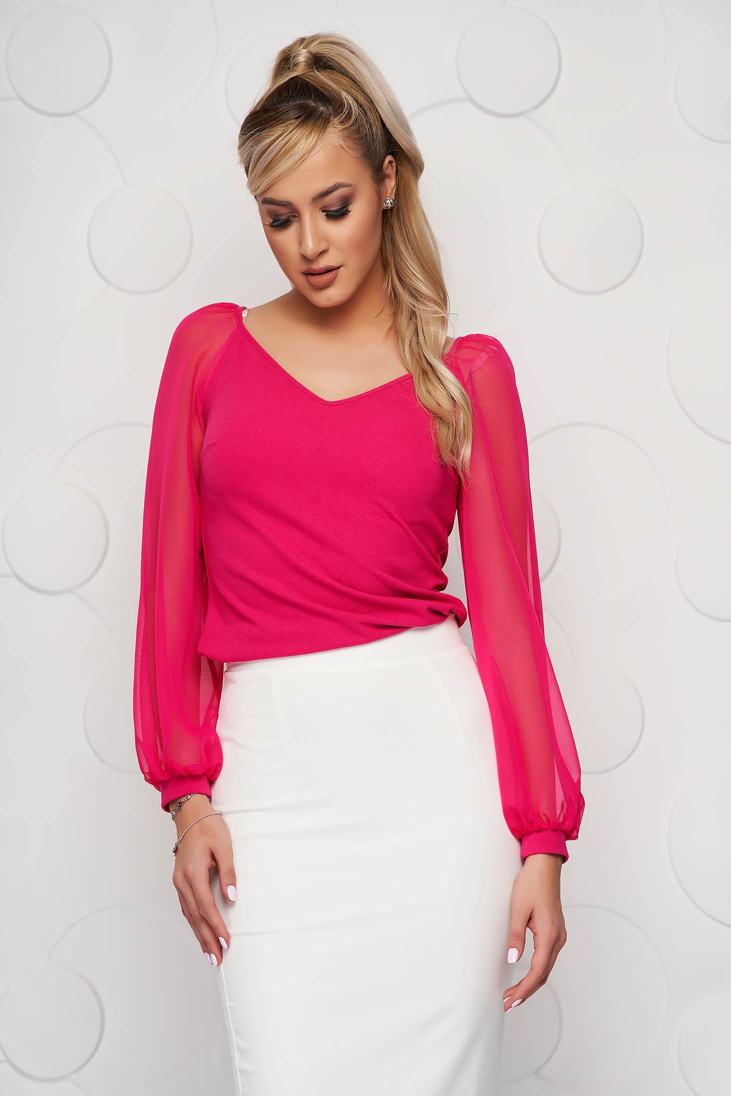 Bluza dama StarShinerS roz eleganta cu un croi mulat cu decolteu in v si maneci transparente