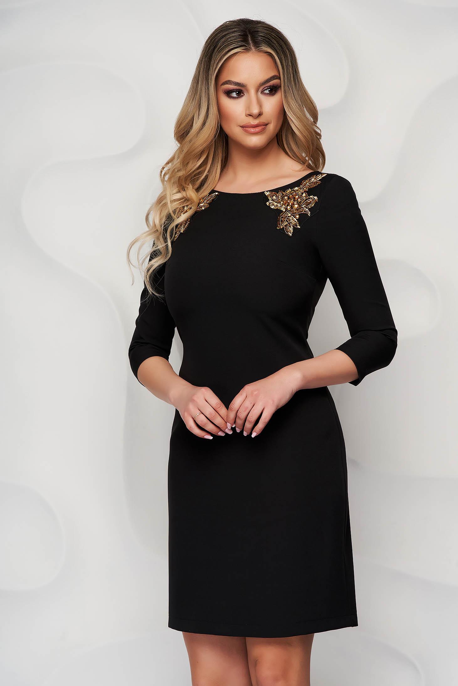 StarShinerS black dress slightly elastic fabric pencil cloth