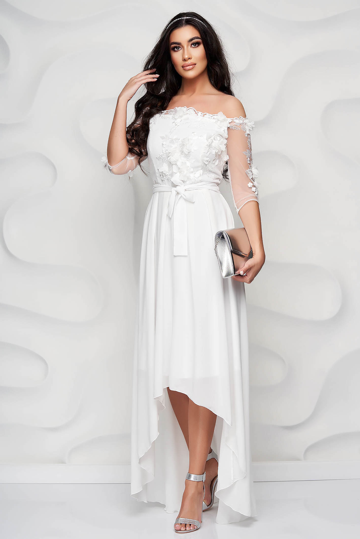 StarShinerS ivory occasional asymmetrical cloche dress accessorized with tied waistband laced