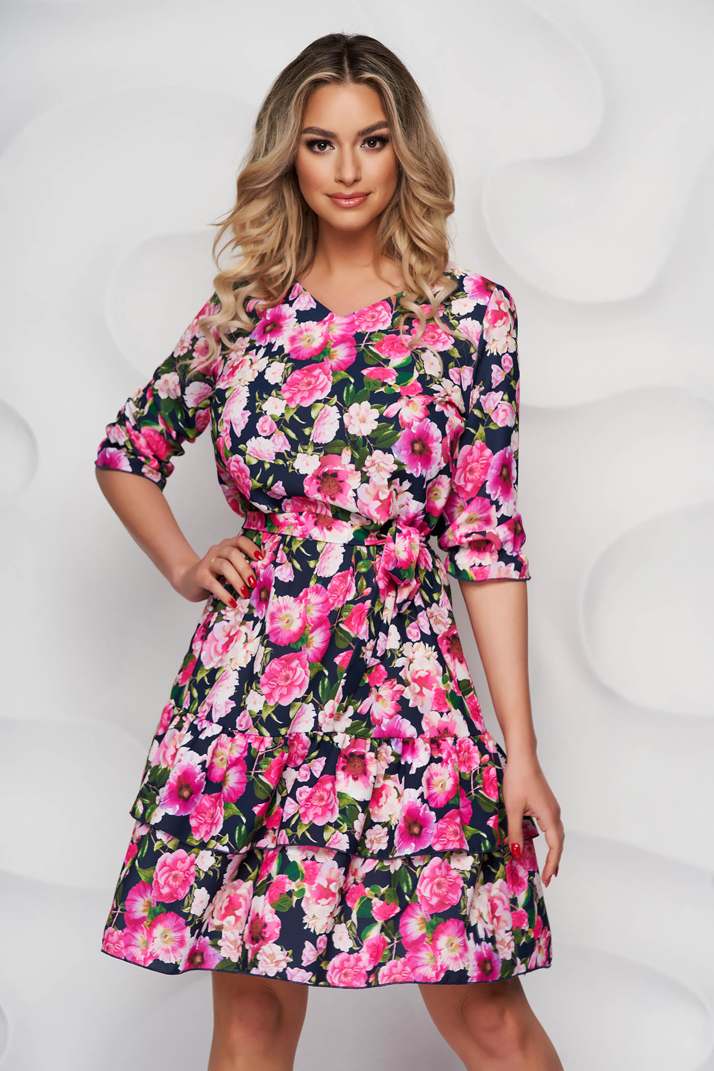 StarShinerS dress with floral print thin fabric office with 3/4 sleeves detachable cord