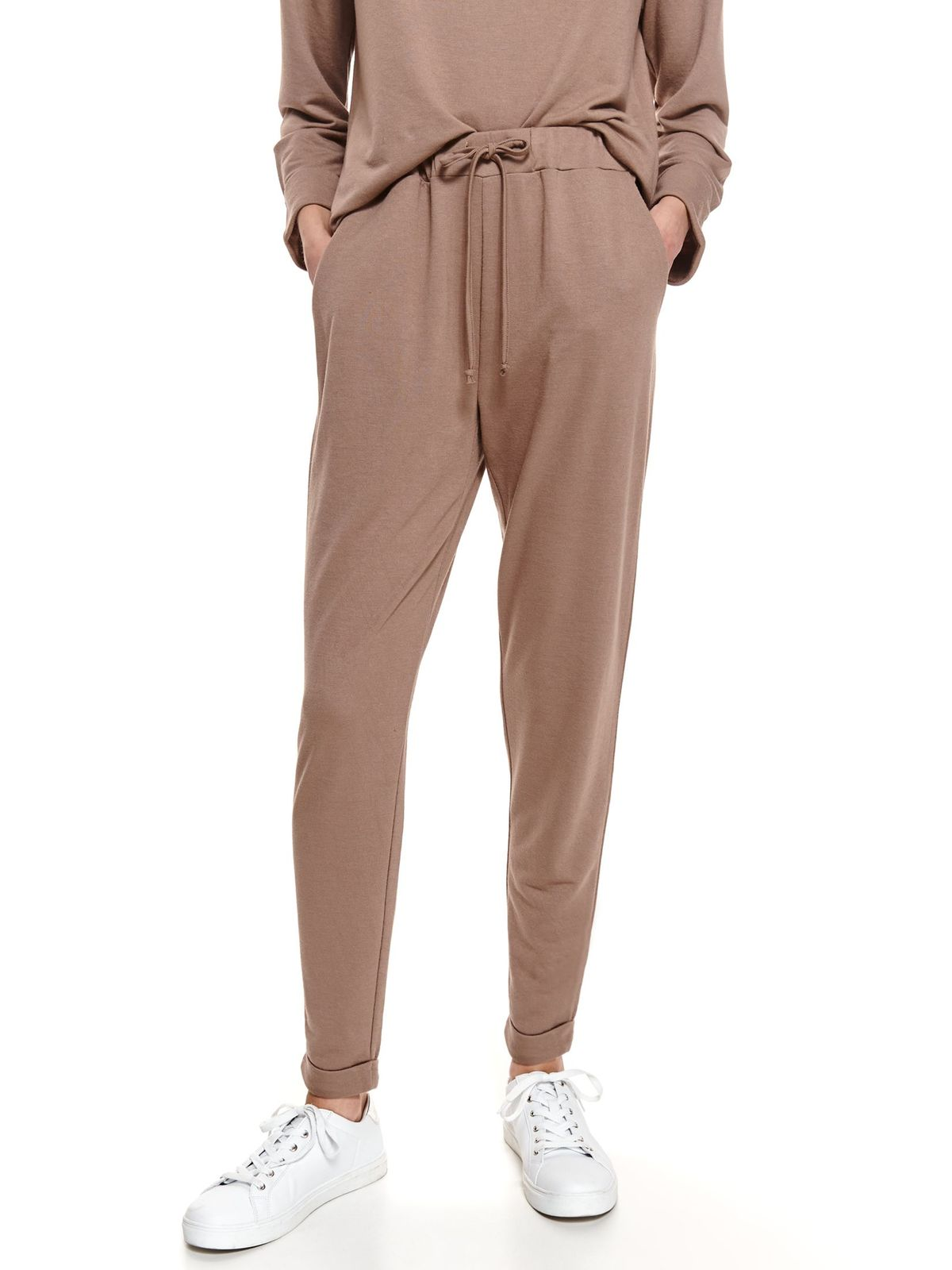 Peach trousers casual conical the pants have pockets