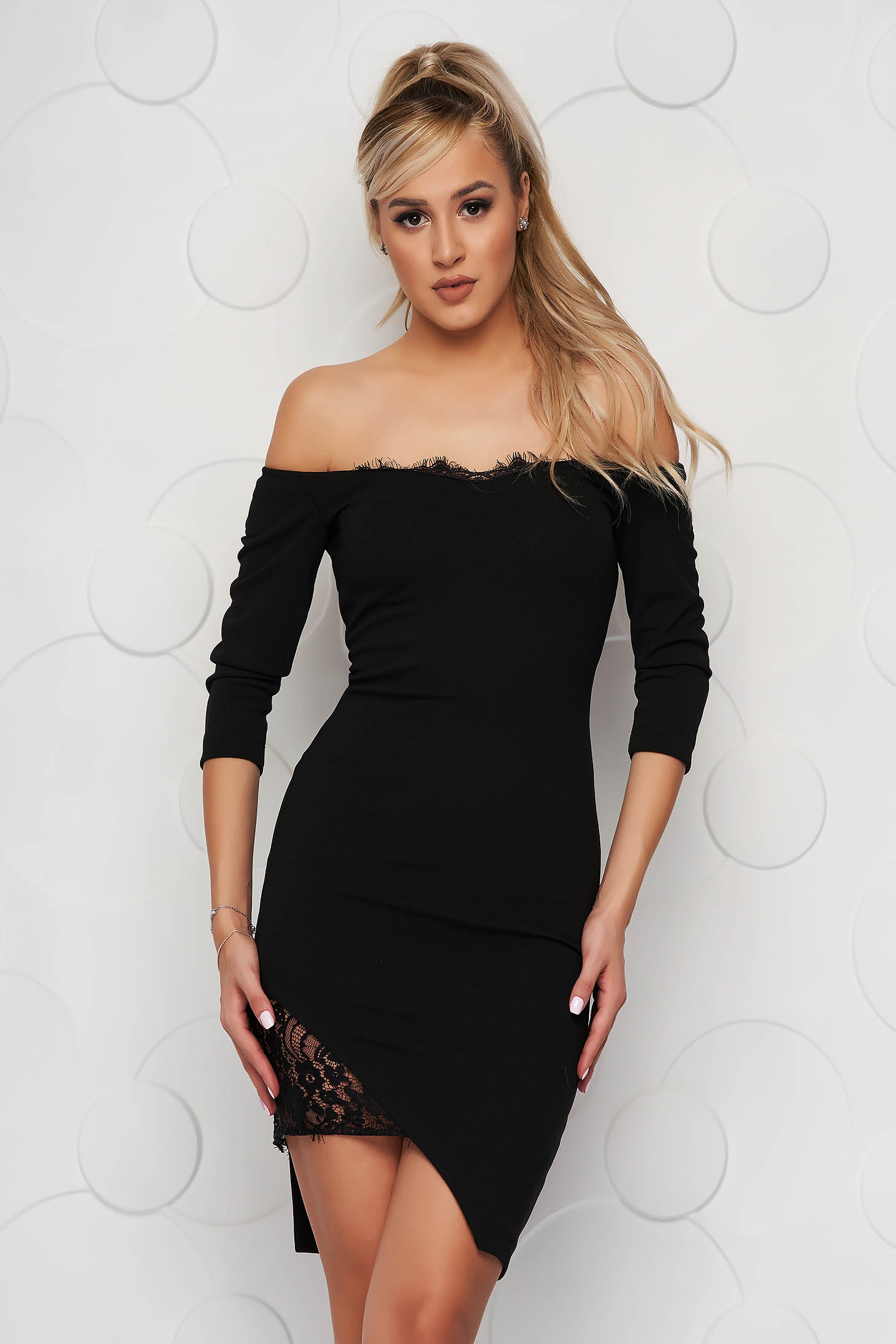 StarShinerS black dress midi pencil from elastic fabric with lace details naked shoulders