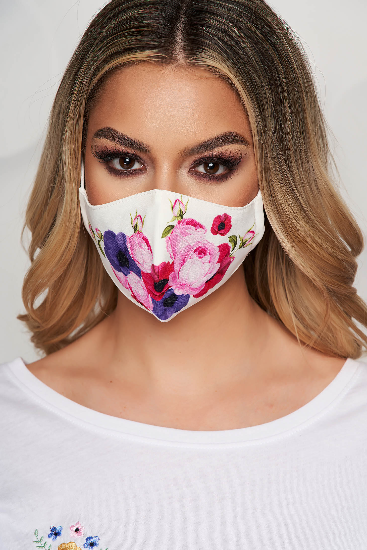 Masca textila pentru femei StarShinerS alba cu imprimeu floral