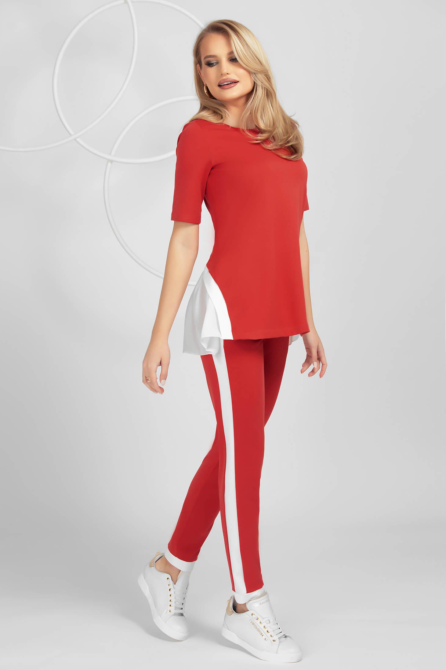 Trening PrettyGirl rosu mulat din material elastic cu insertii de voal și maneca scurta