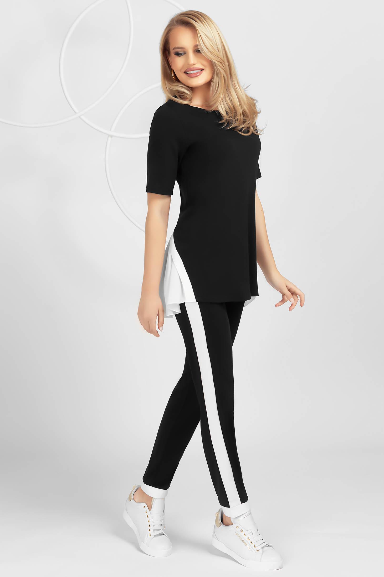 Trening PrettyGirl negru mulat din material elastic cu insertii de voal și maneca scurta