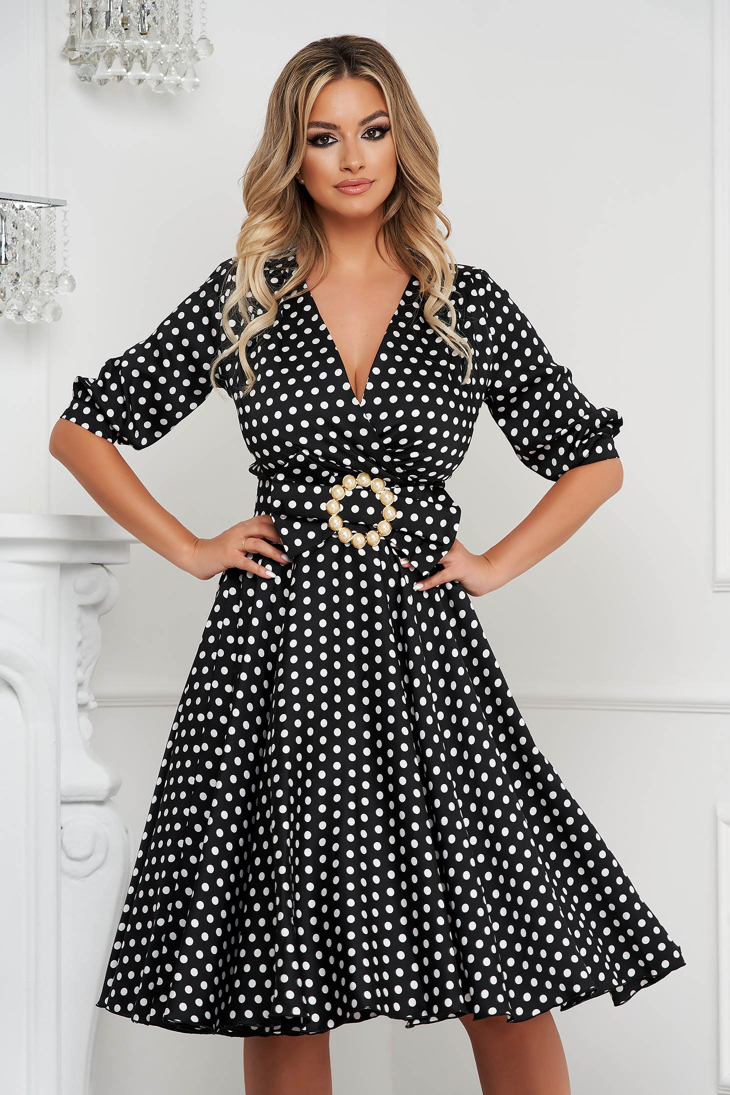 Dress elegant midi cloche from veil fabric dots print with 3/4 sleeves