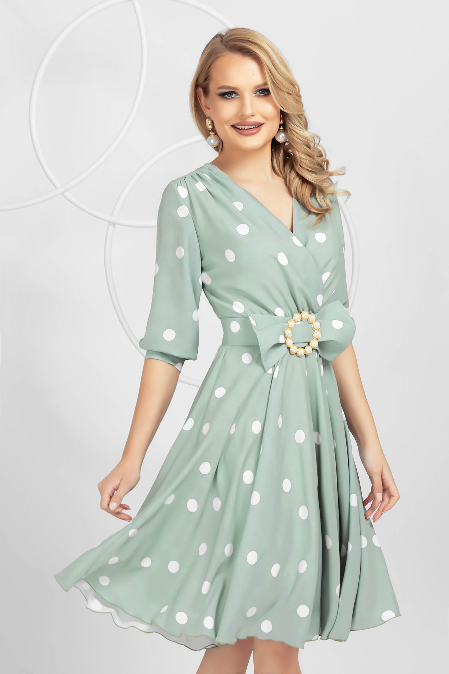 Dress elegant midi cloche from veil fabric detachable cord
