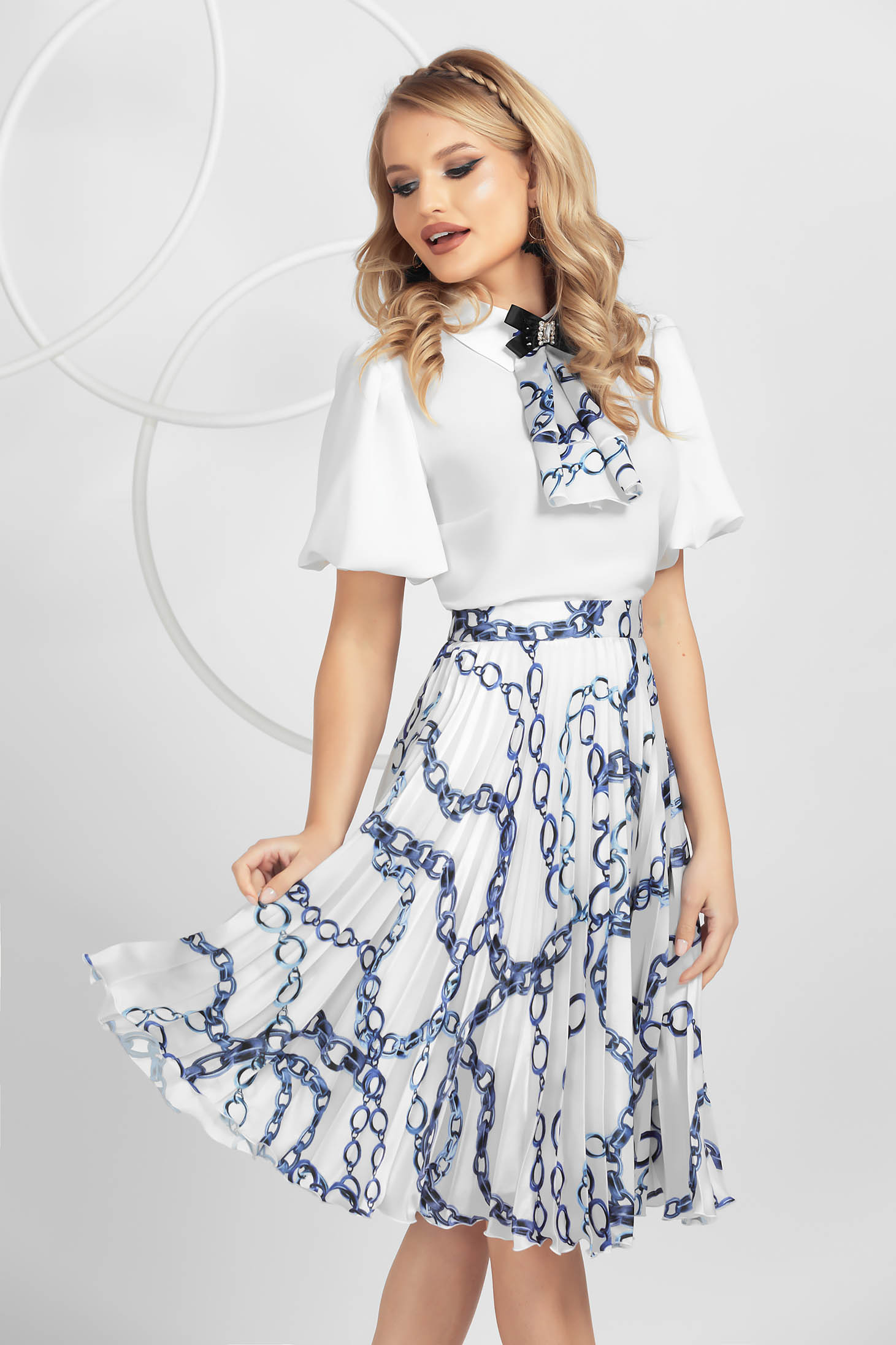 Blue skirt airy fabric with floral print with elastic waist pleats of material