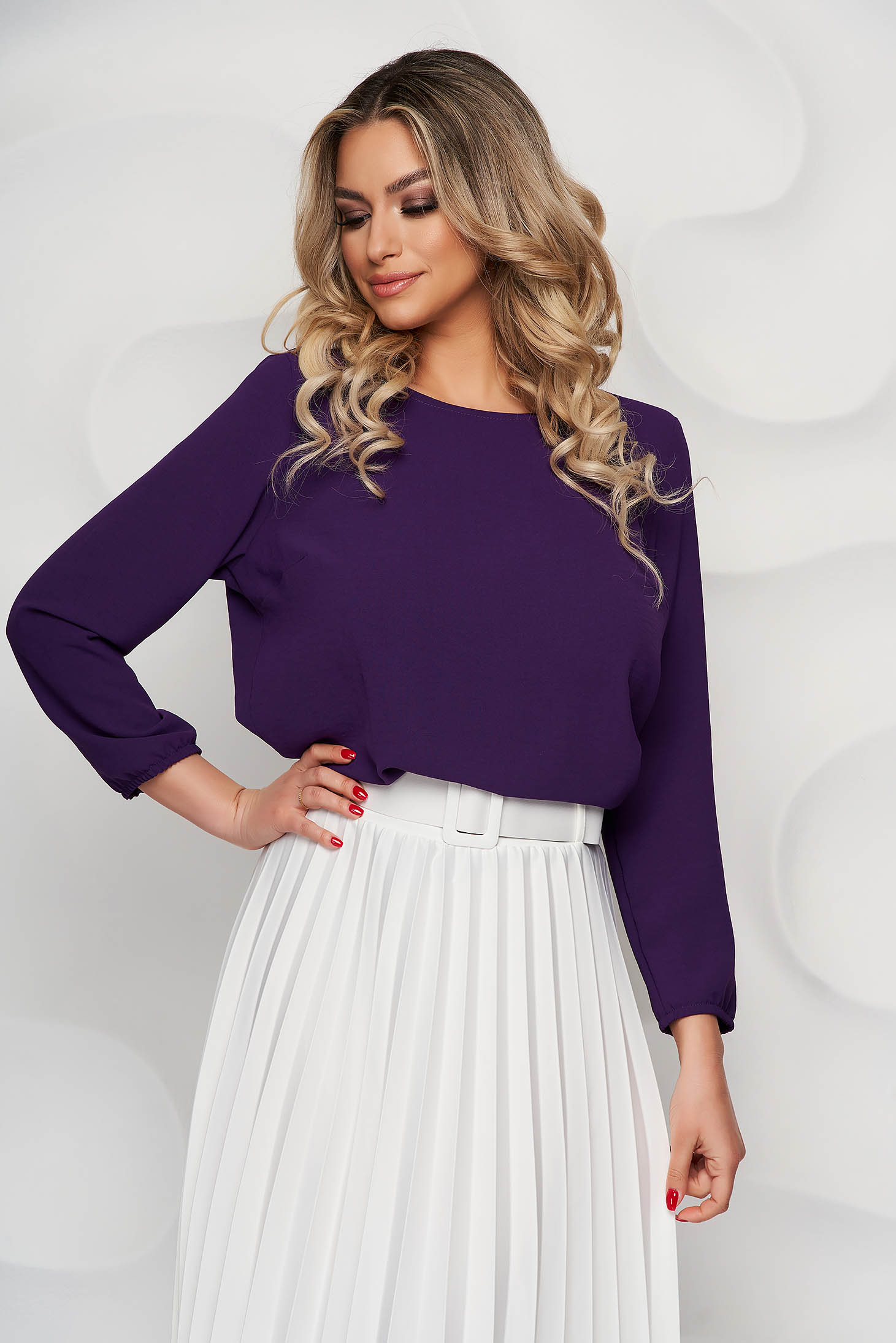 StarShinerS purple women`s blouse loose fit with rounded cleavage from elastic fabric