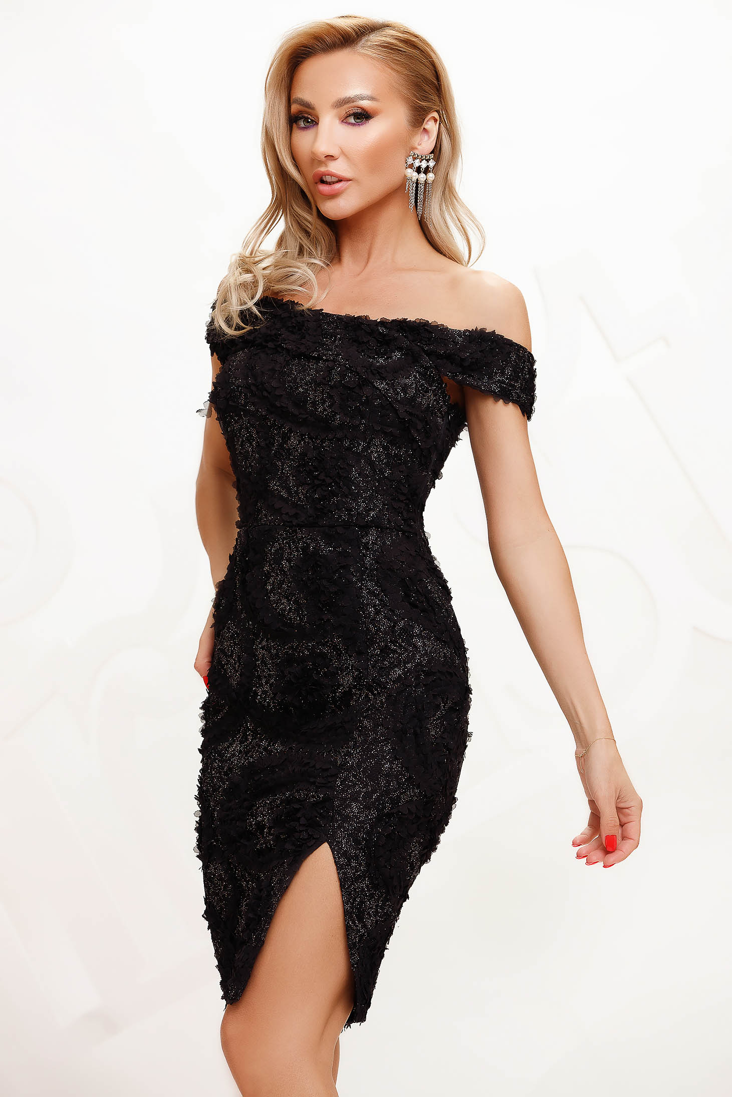 Black dress from laced fabric occasional pencil short cut naked shoulders