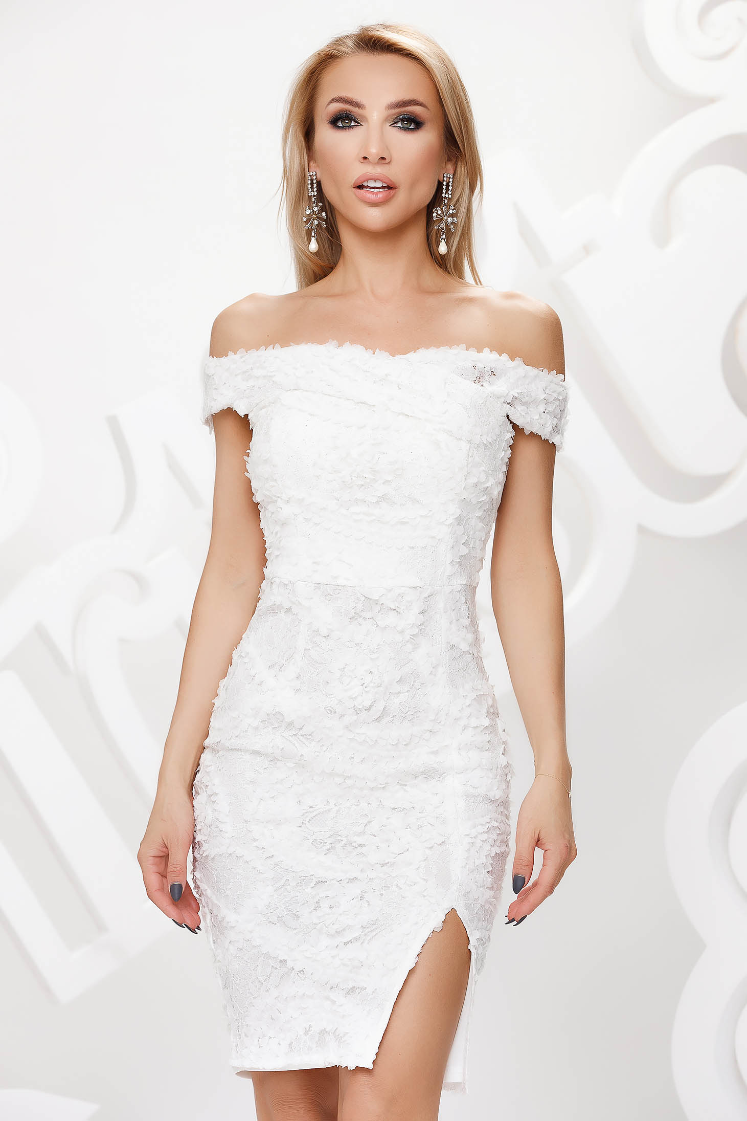 White dress from laced fabric occasional pencil short cut naked shoulders