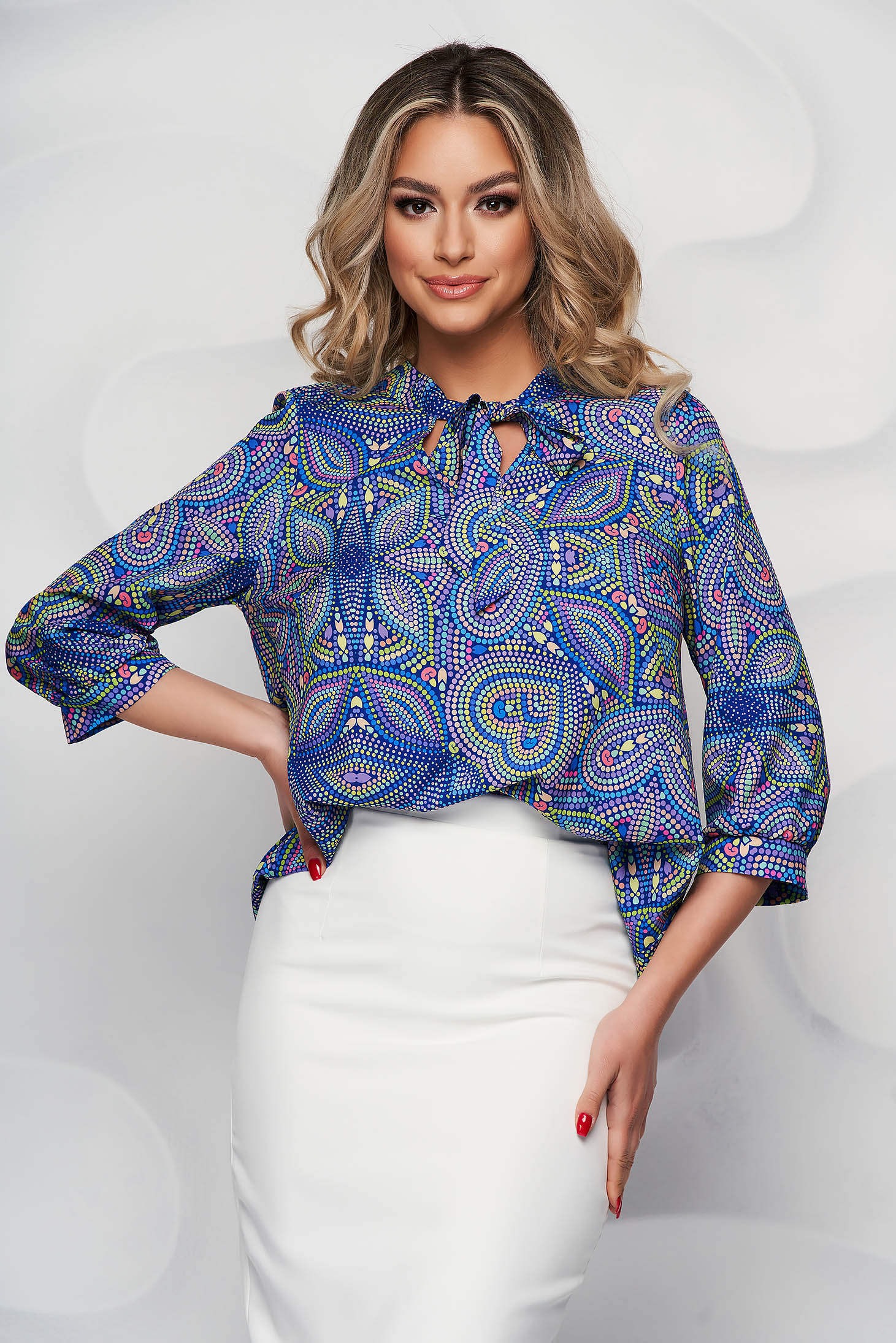 StarShinerS blue women`s blouse with floral print airy fabric