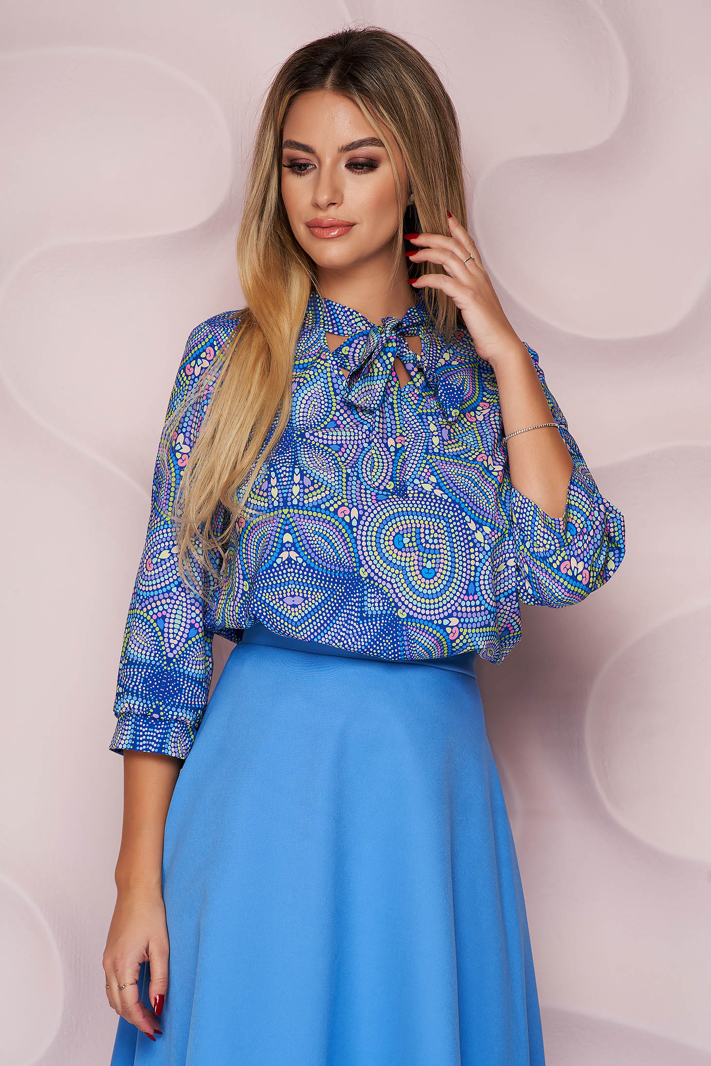 StarShinerS blue women`s blouse with floral print airy fabric office
