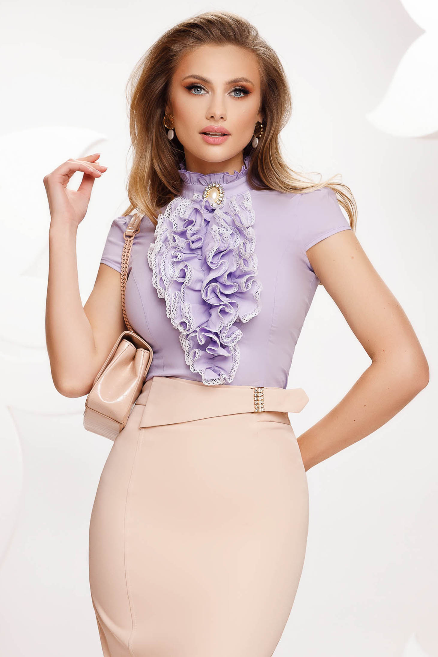 Lila women`s shirt with ruffles on the chest short sleeve