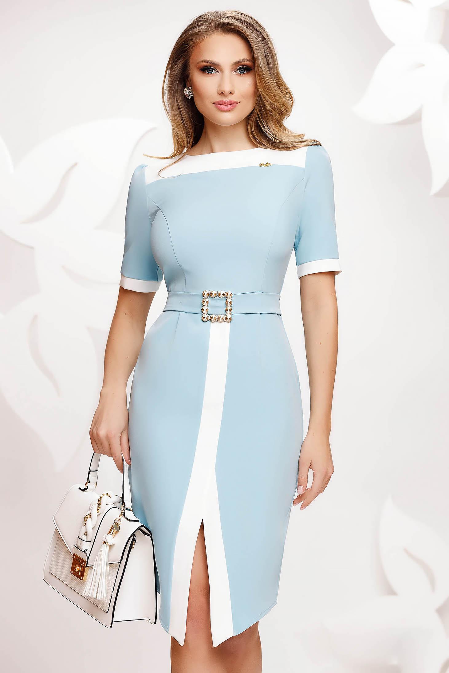 Lightblue dress elegant slit with tie back belt