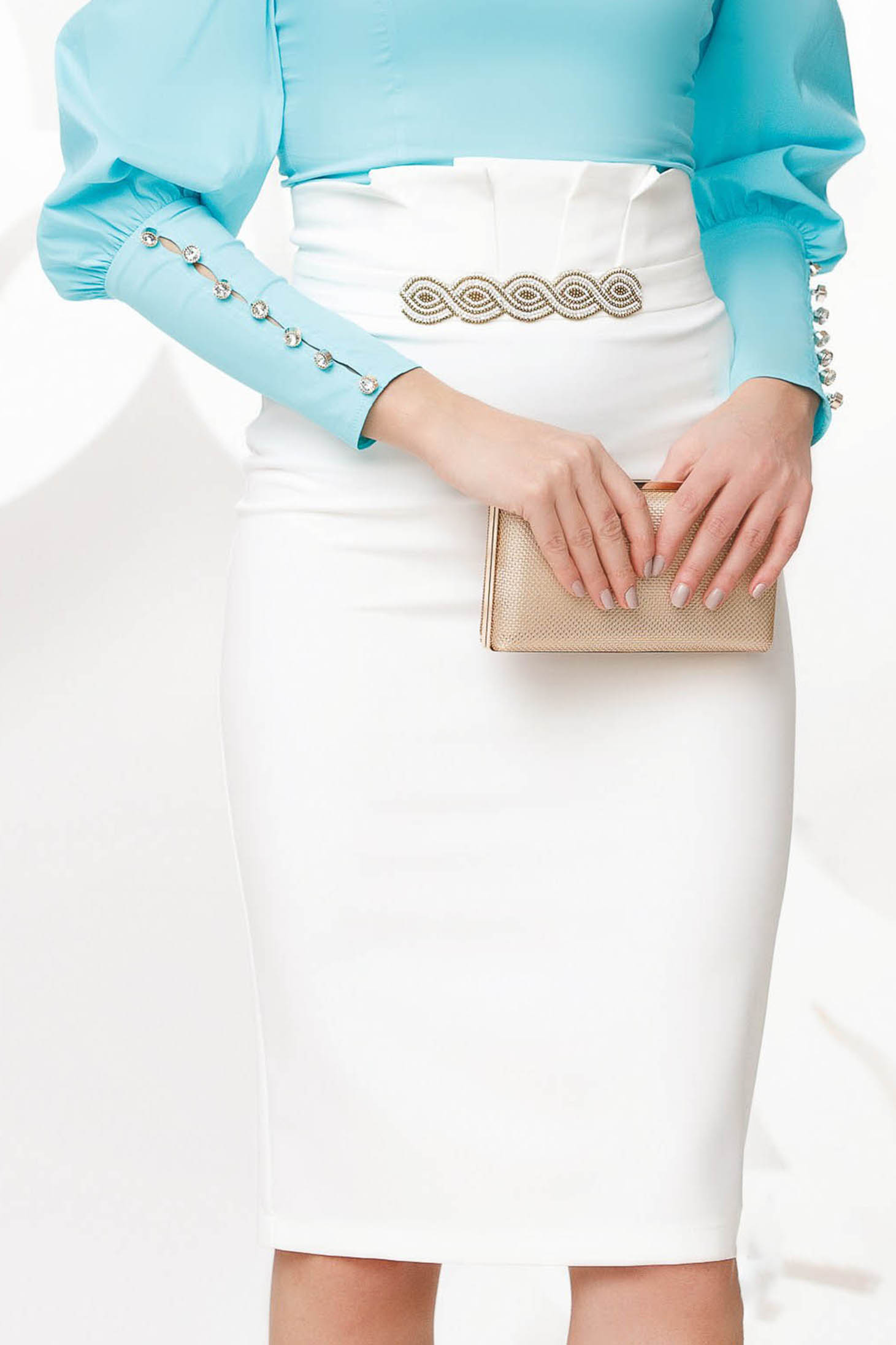 White skirt pencil high waisted elegant with embellished accessories